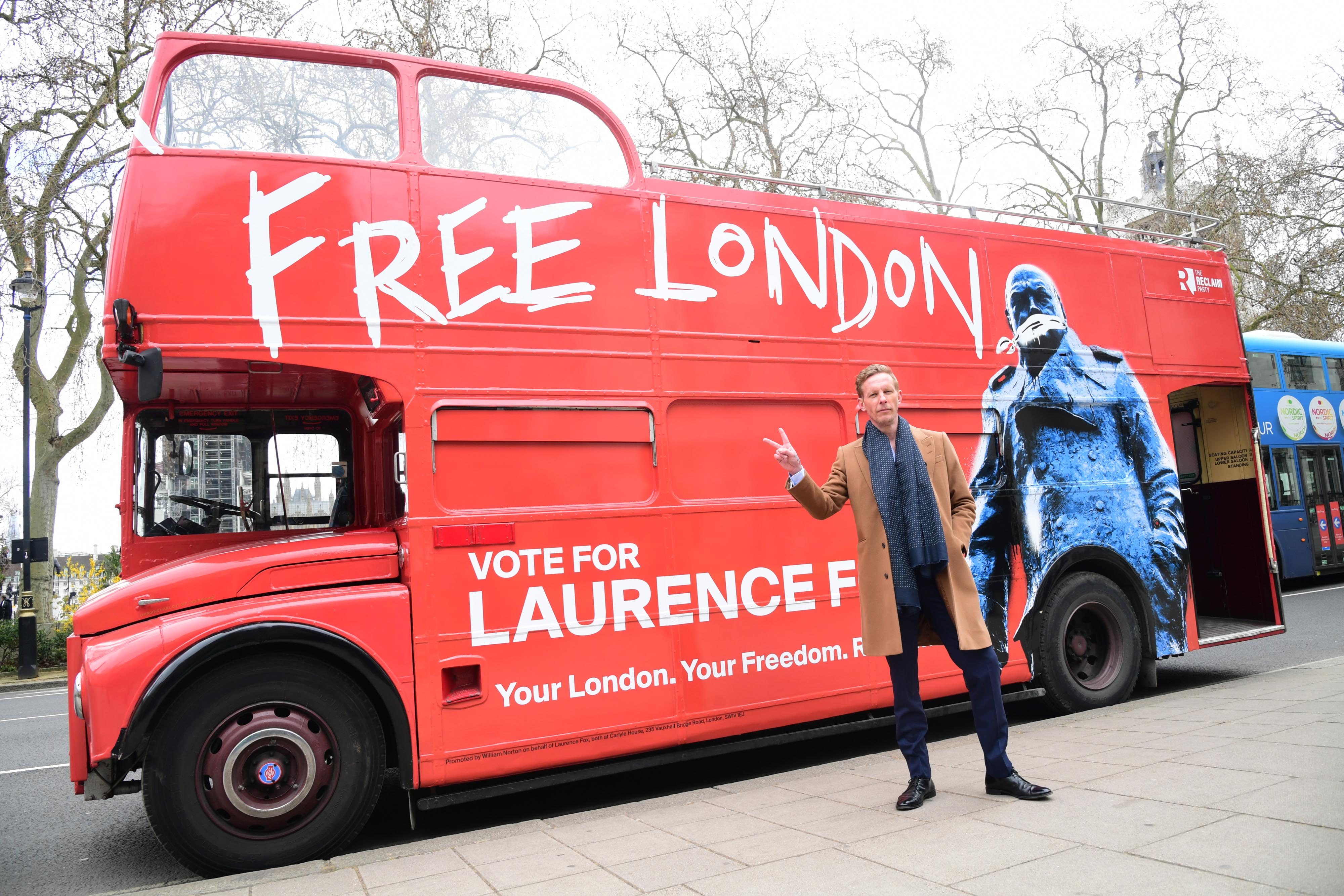 <p>Leader of the Reclaim Party, Laurence Fox, at the launch of their party manifesto for the London Mayoral election, in Parliament Square, Westminster, central London. Picture date: Wednesday April 7, 2021.</p>