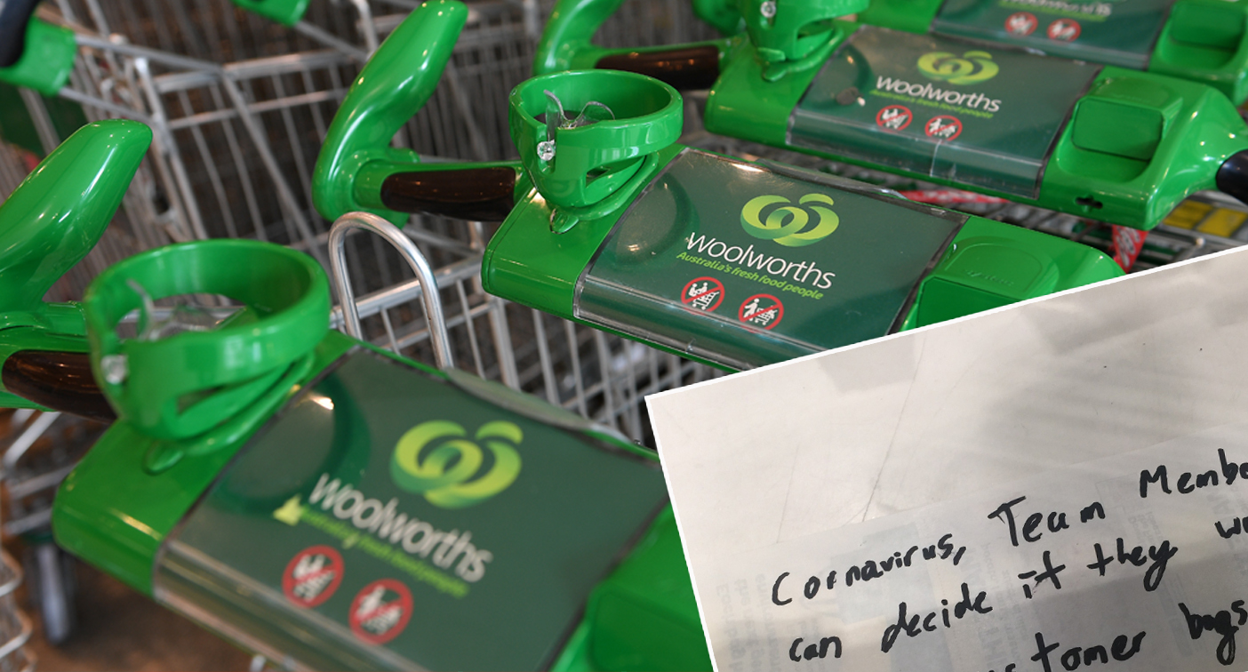 Woolworths manager's note on Covid policy offends customer