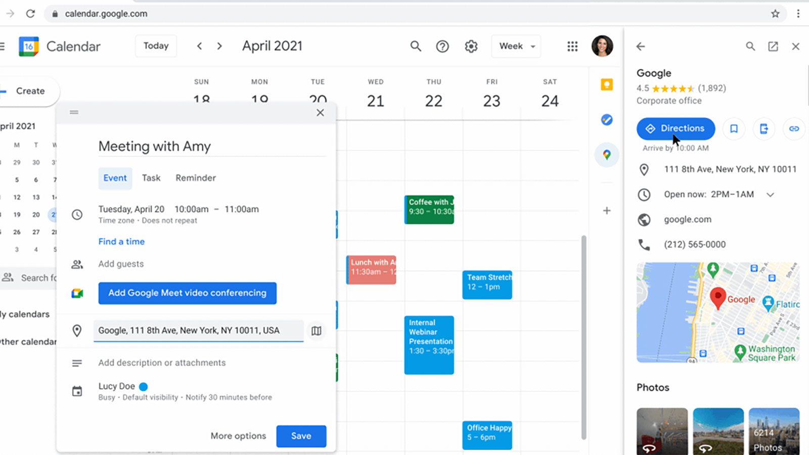 Google is adding a Maps widget to Calendar in Workspace | Engadget