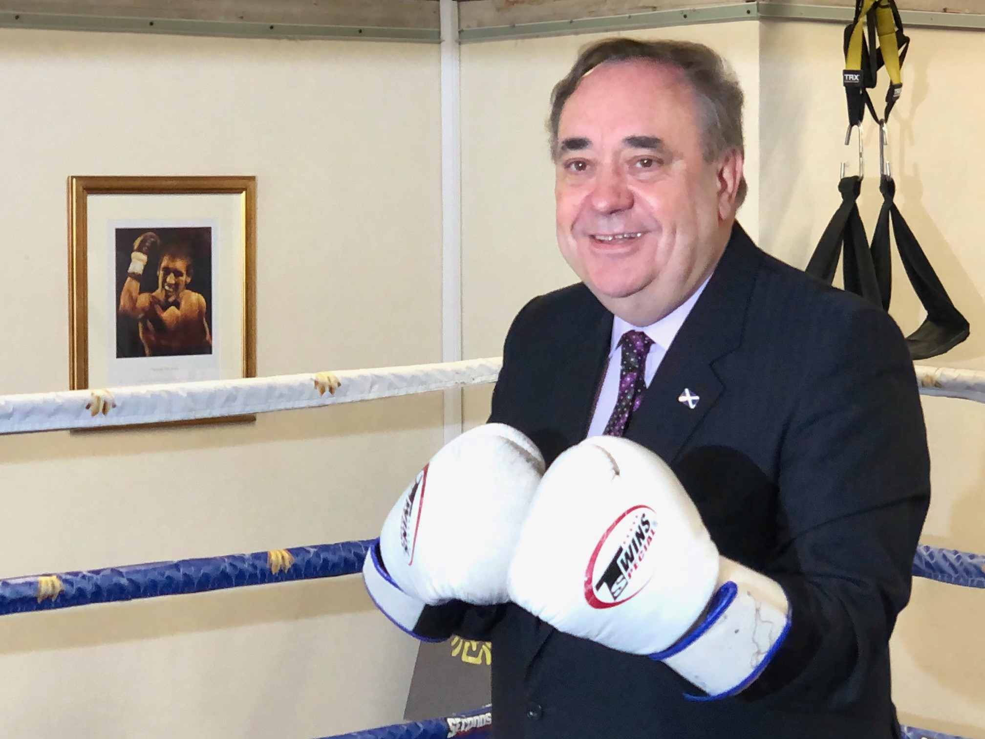 <p>ALBA Party leader Alex Salmond at Alex Arthur's Boxing Gym in Edinburgh during his campaigning for the Scottish Parliamentary election. Picture date: Monday April 26, 2021.</p>