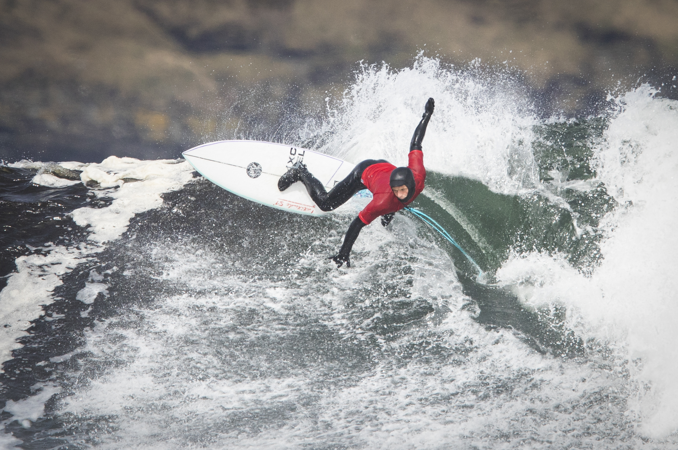 <p>Wales' Patrick Langdon Dark in the Men's Open Repo 3 event during day two of the British Surfing Championships at Thurso East, Caithness. Picture date: Sunday April 11, 2021.</p>