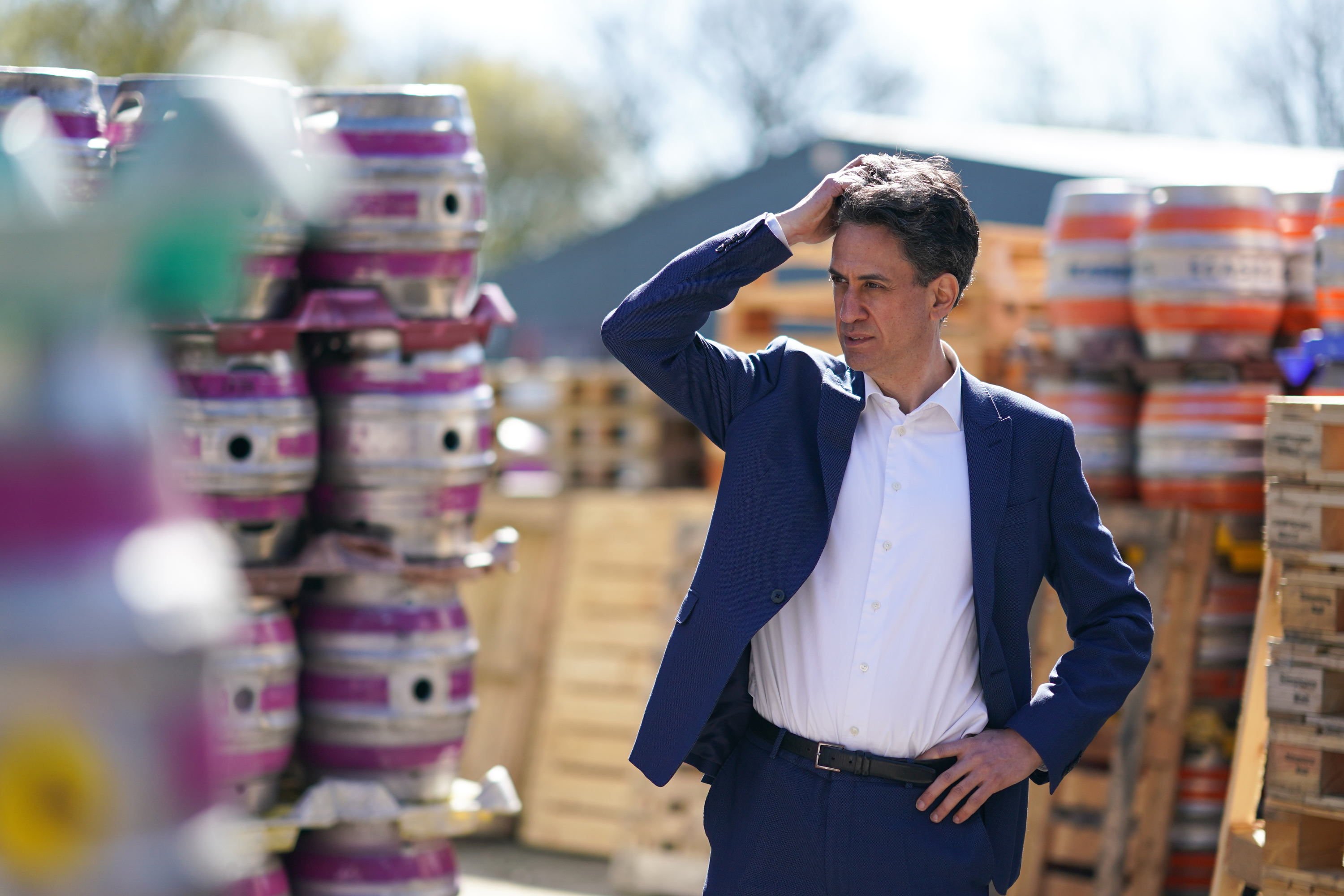 <p>Ed Miliband, Shadow Secretary of State for Business, Energy and Industrial Strategy visits the Ilkley brewery, in Ilkley West Yorkshire, to show support for Tracy Brabin as she campaigns to become the Labour candidate in the West Yorkshire mayoral election. Picture date: Thursday April 22, 2021.</p>