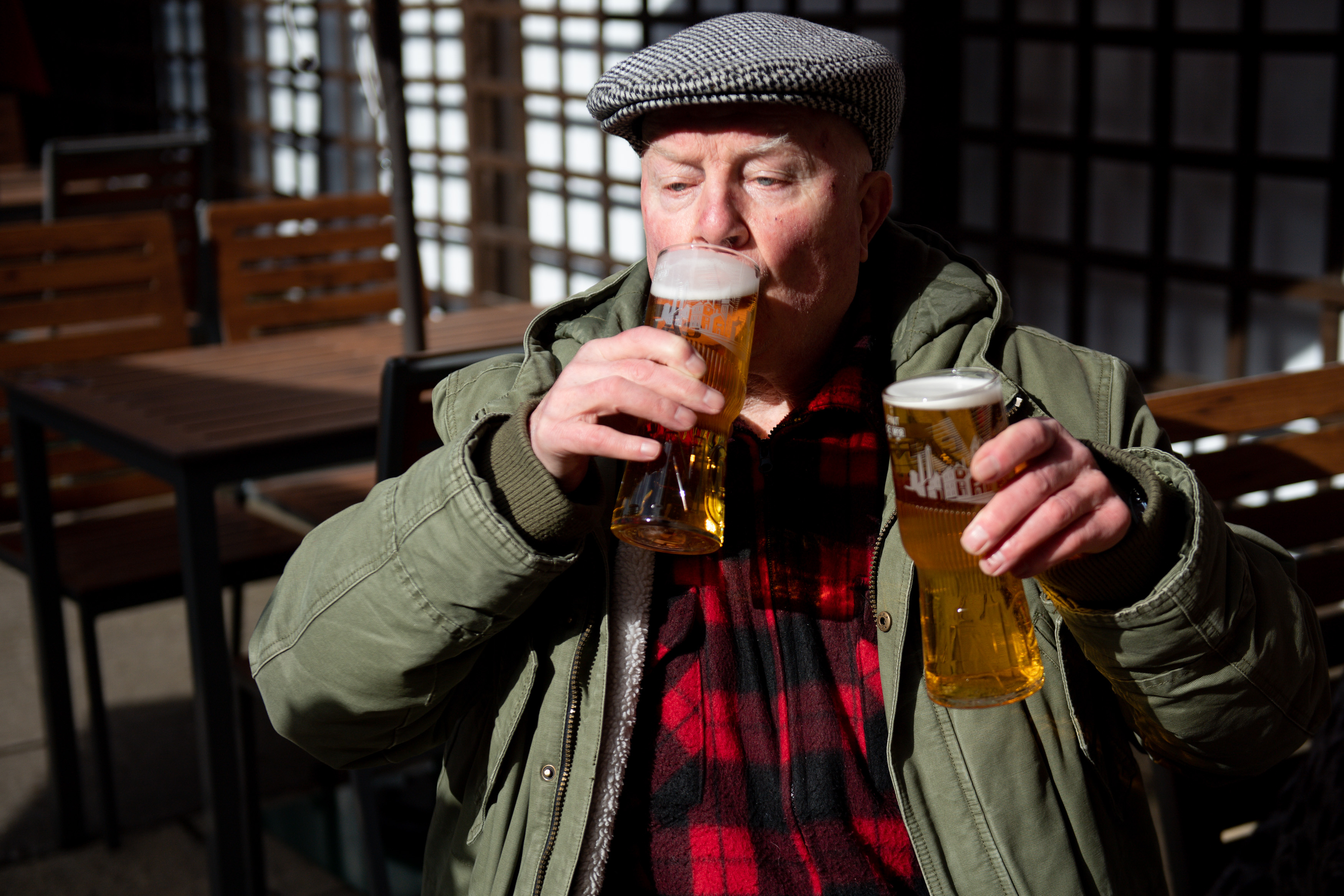 <p>John Witts enjoys a drink at the reopening of the Figure of Eight pub, in Birmingham, as England takes another step back towards normality with the further easing of lockdown restrictions. Picture date: Monday April 12, 2021.</p>