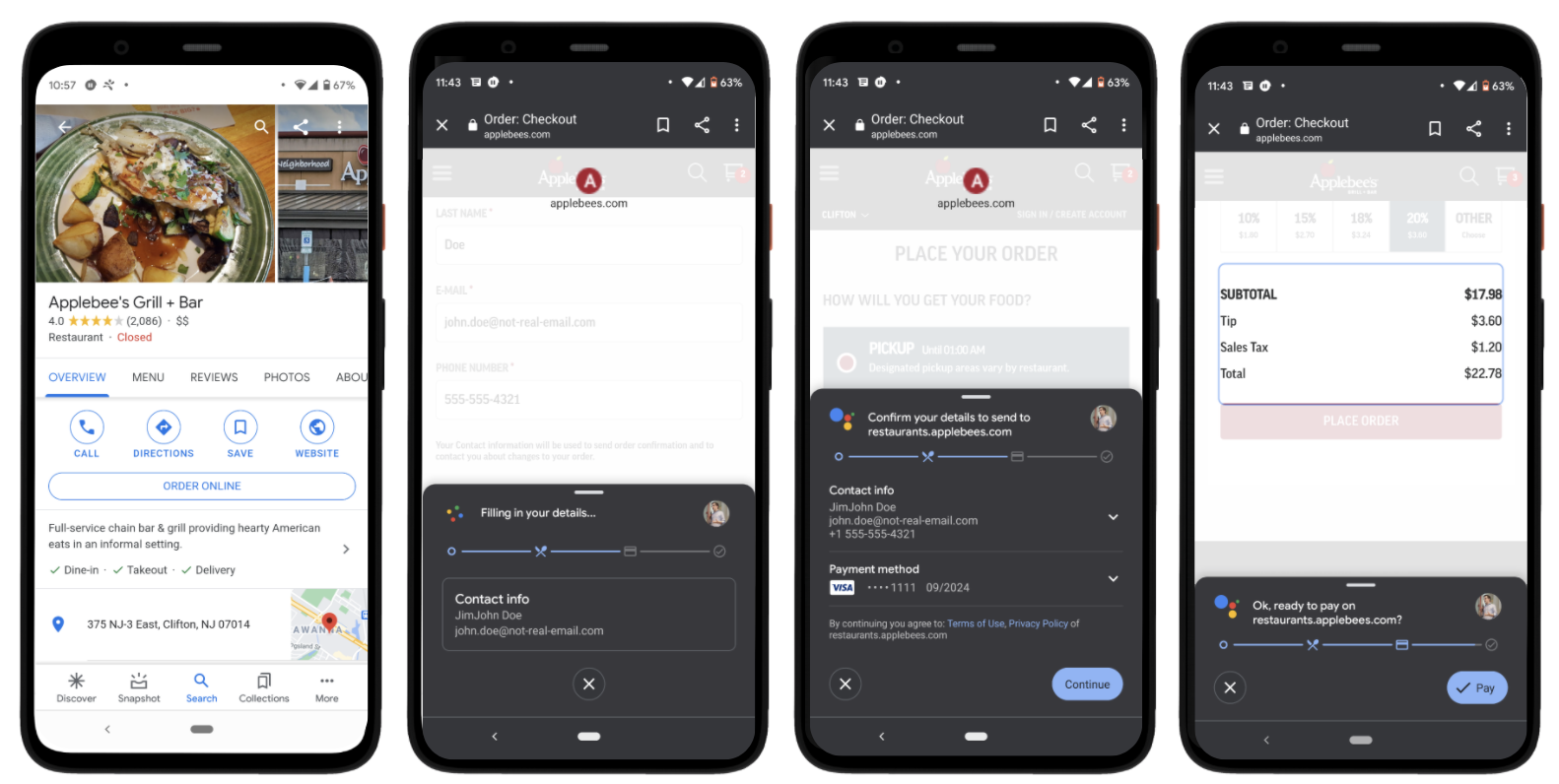 Google Duplex for web food order payment checkout screenshots. A set of four screenshots showing the process of ordering from Applebee's Grill and Bar via the Google app on Android.