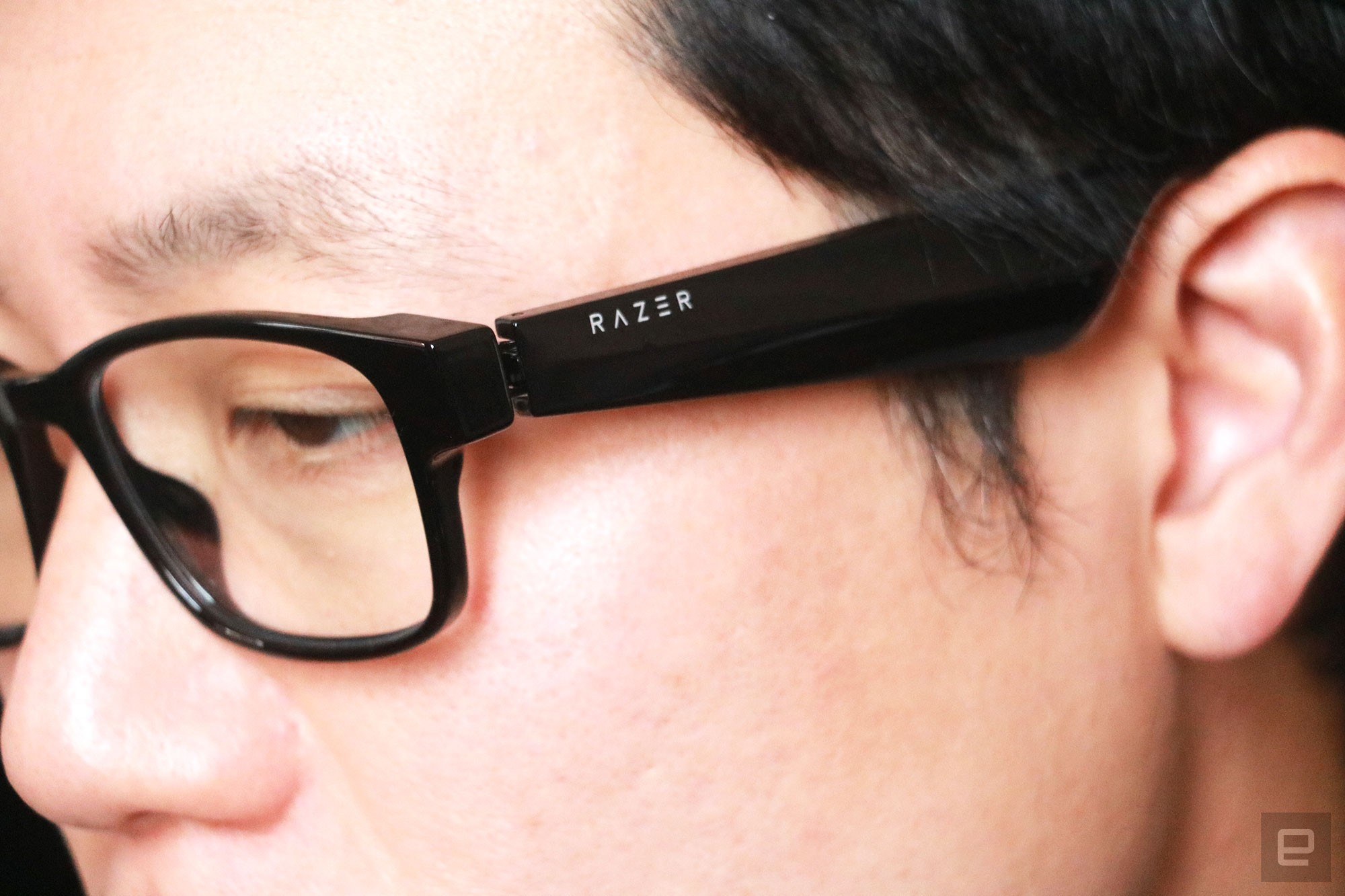 <p>Razer Anzu smart glasses review photo. Close up of the left side profile of a man wearing the Razer smart glasses.</p>