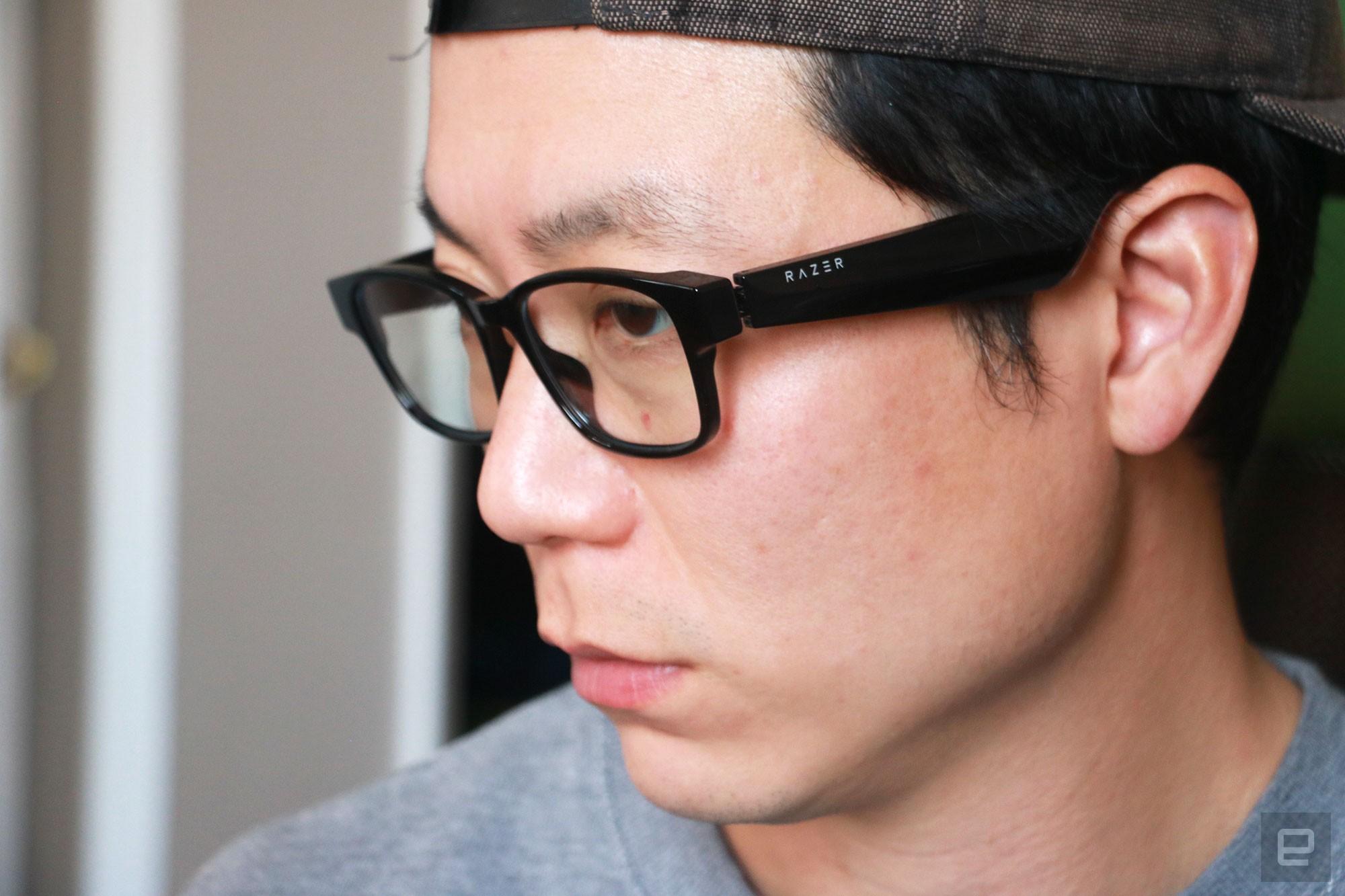 <p>Razer Anzu smart glasses review photo. Left side profile of a man wearing the Razer smart glasses.</p>