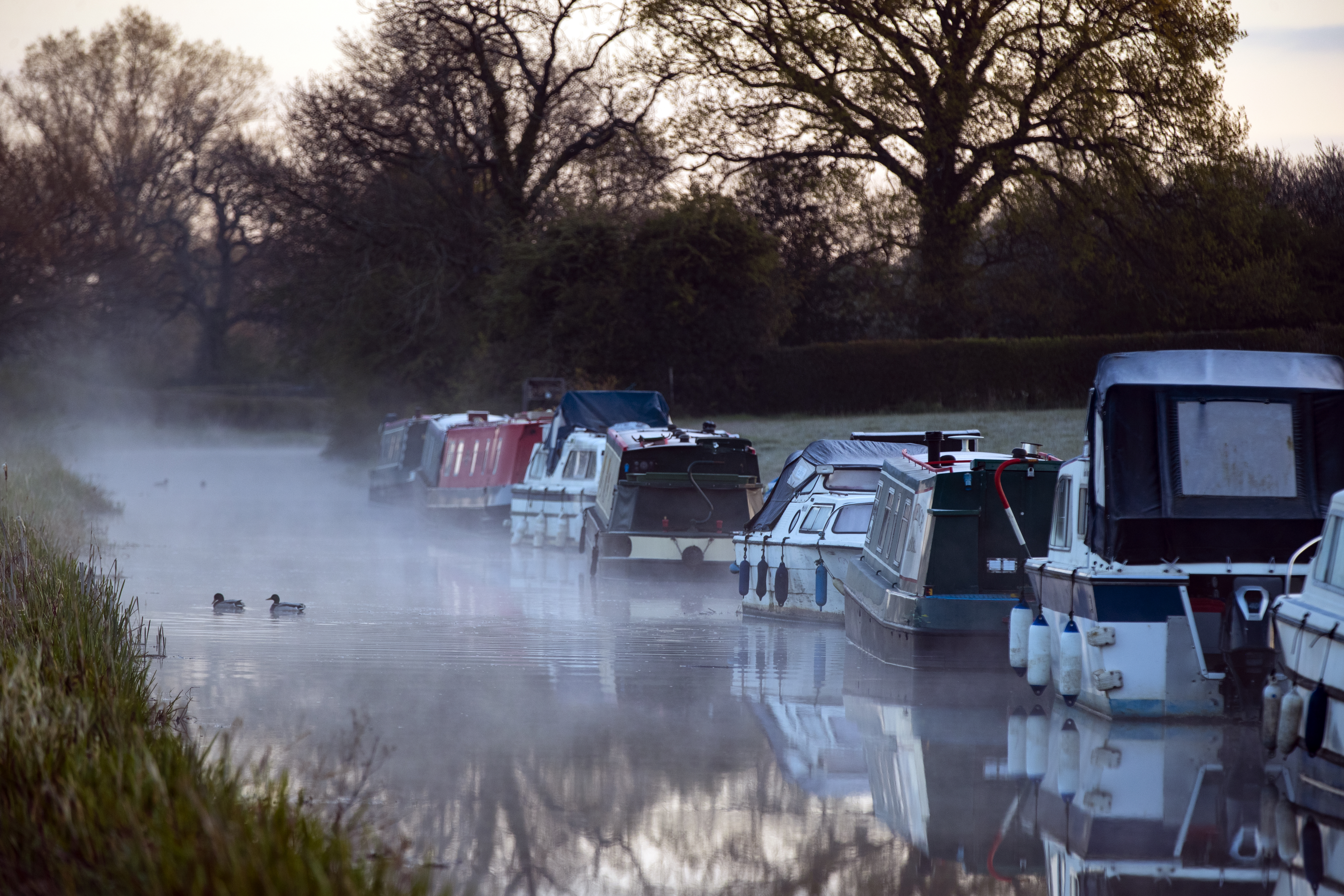 <p>Mist rises on the canal at Biddulph in Staffordshire. Picture date: Monday April 26, 2021.</p>