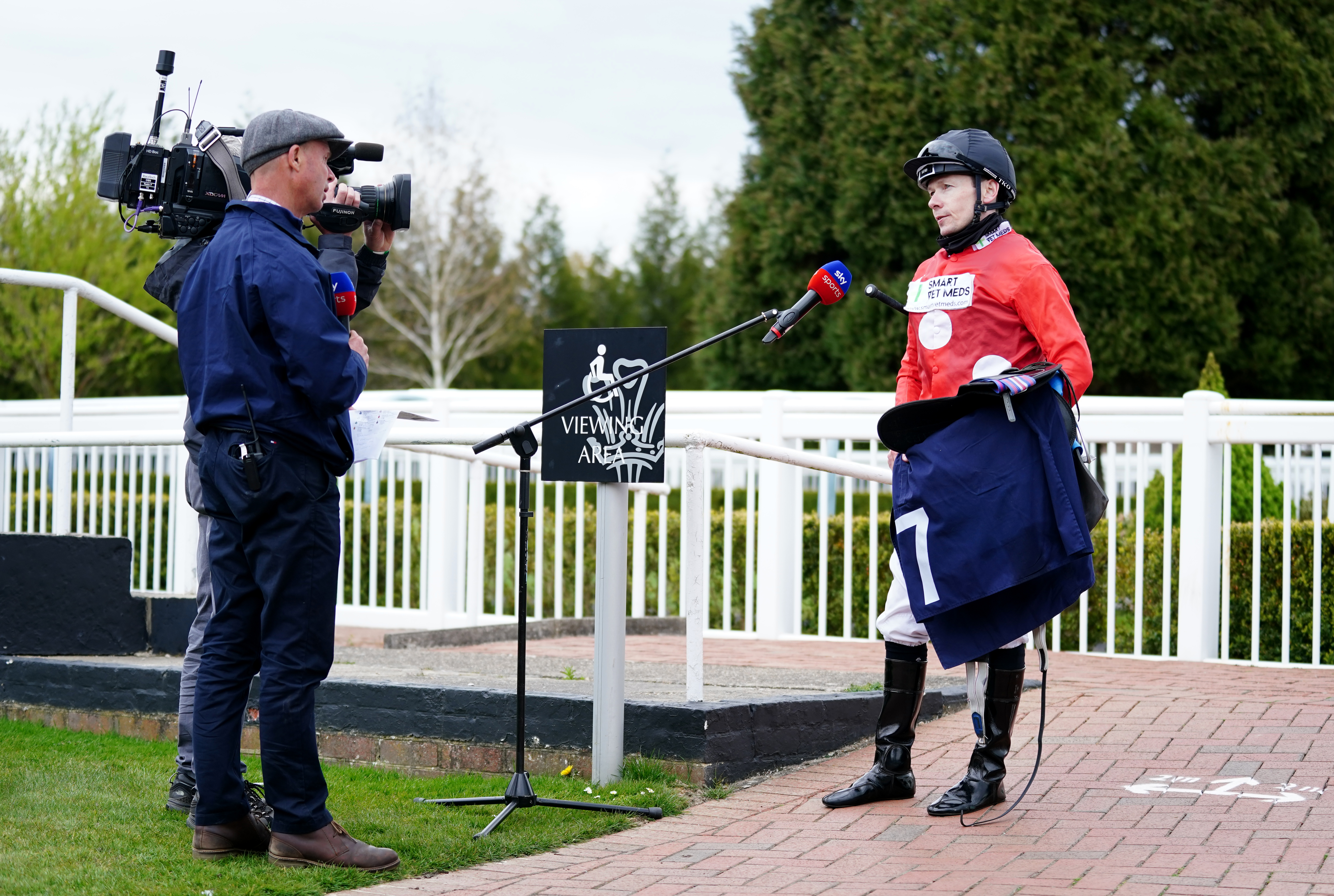 <p>Jockey Jamie Spencer speaks to Sky Sports after winning the the Kentucky Derby On Sky Sports Racing Handicap with Billhilly at Lingfield Park Racecourse. Picture date: Thursday April 29, 2021.</p>