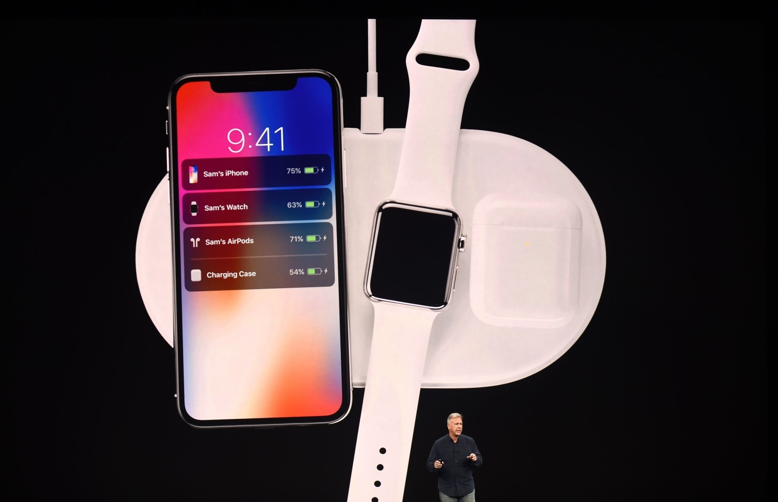 Senior Vice President of Worldwide Marketing at Apple Philip Schiller introduces AirPower, a wireless charging system, during a media event at Apple's new headquarters in Cupertino, California on September 12, 2017.  / AFP PHOTO / Josh Edelson        (Photo credit should read JOSH EDELSON/AFP/Getty Images)