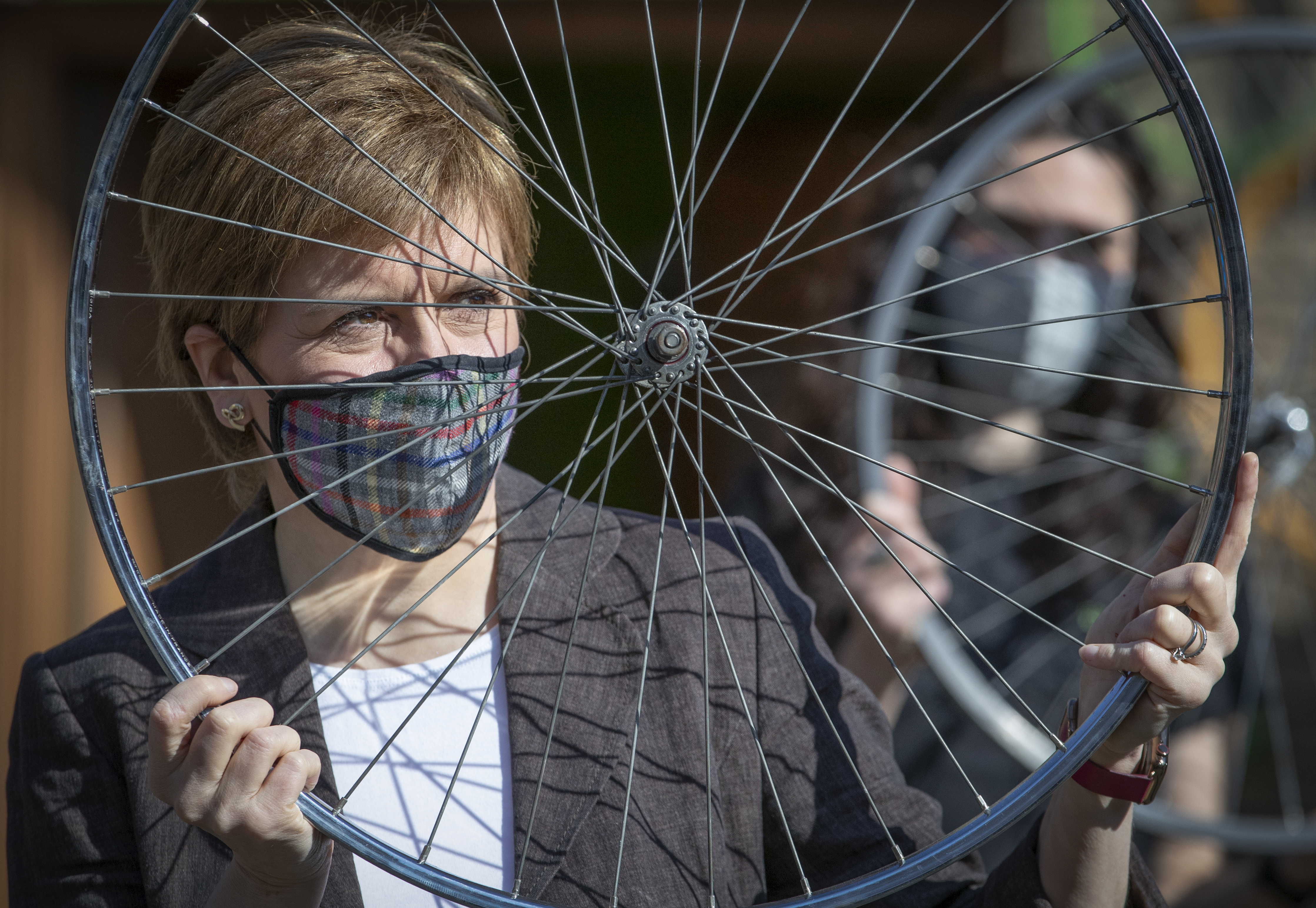 <p>First Minister Nicola Sturgeon, leader of the Scottish National Party (SNP), at the Bike for Good Glasgow South Community Hub during campaigning for the Scottish Parliamentary election. Picture date: Thursday April 22, 2021.</p>