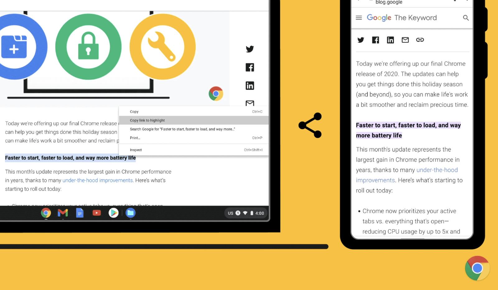 Chrome 90 highlight link
