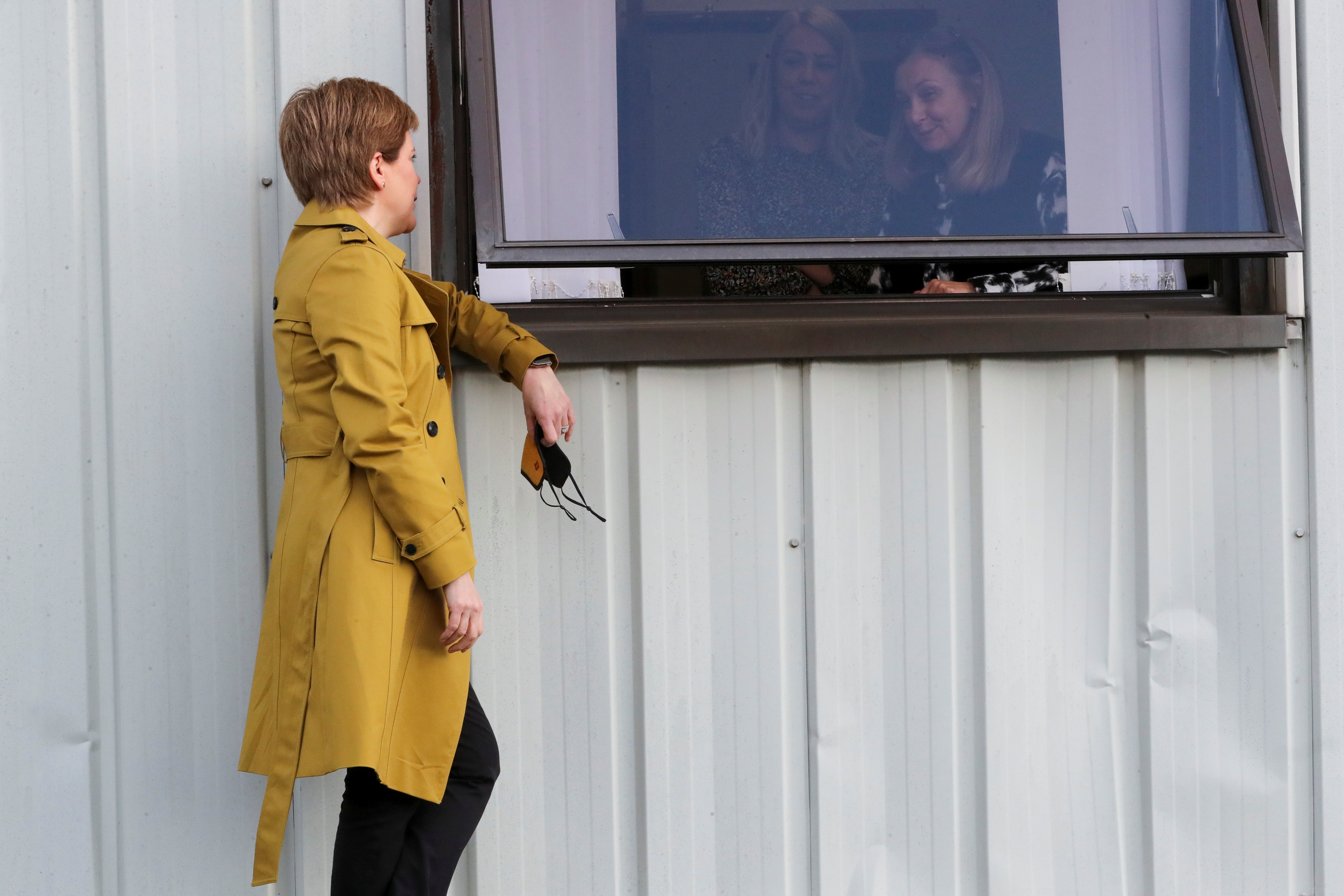 <p>First Minister of Scotland and SNP leader Nicola Sturgeon in Airdrie during campaigning for the Airdrie and Shotts by-election. Picture date: Wednesday May 12, 2021.</p>