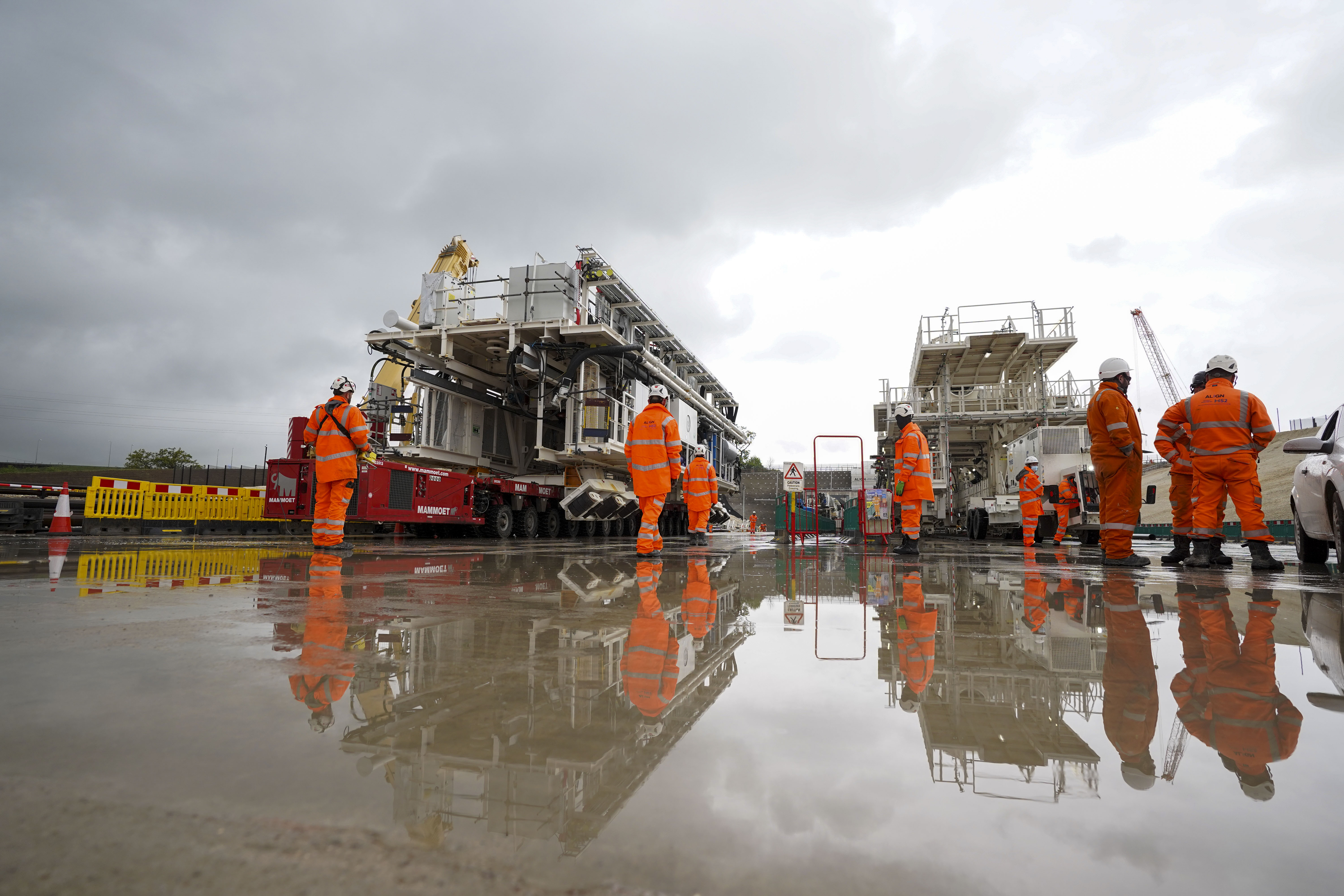 <p>Florence (right)- the largest ever tunnel boring machine used on a UK rail project - which is unveiled at the HS2 site in West Hyde near Rickmansworth in Hertfordshire. Picture date: Thursday May 13, 2021.</p>