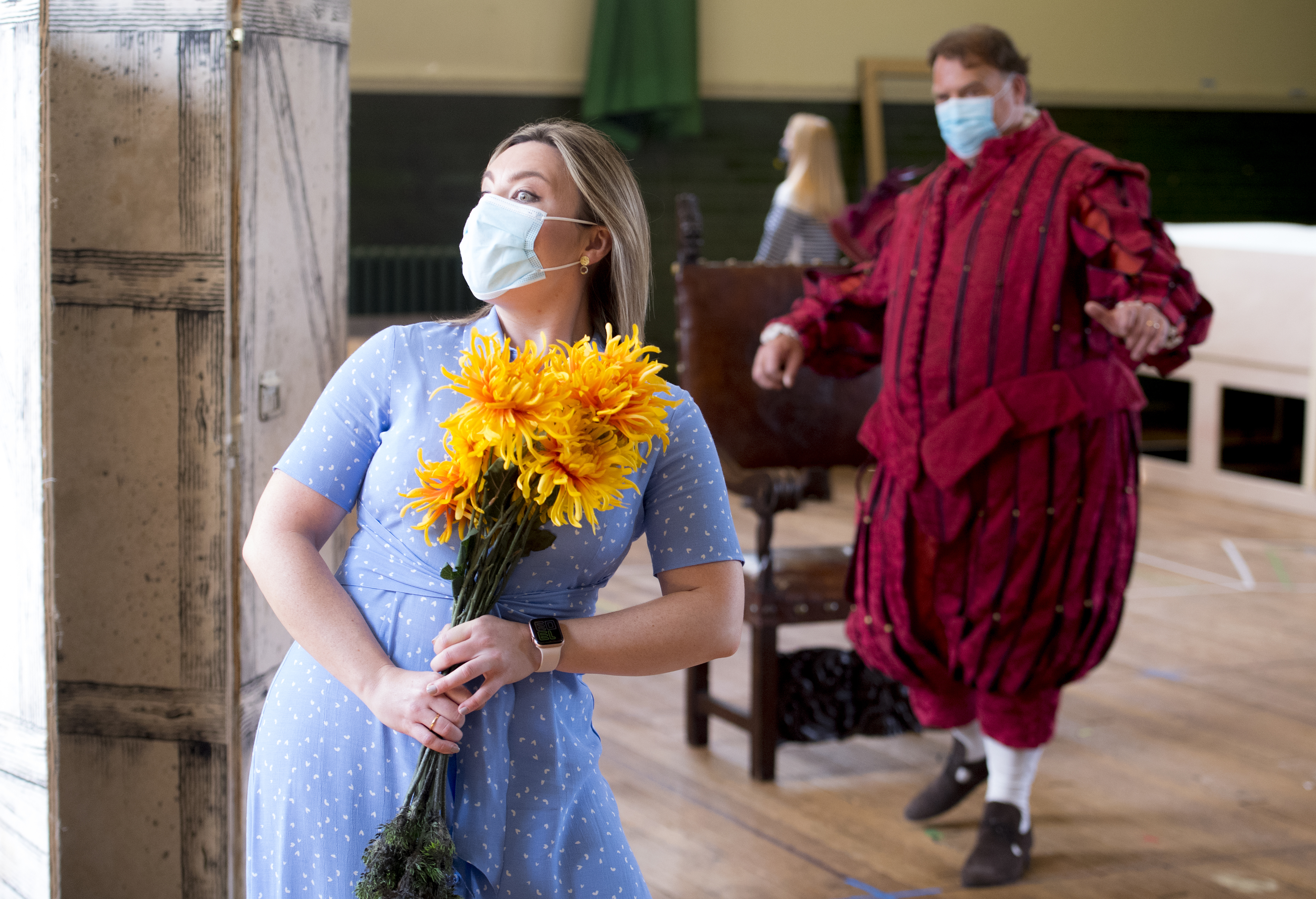<p>Natalya Romaniw and Bryn Terfel are masked and socially distanced during a rehearsal of Falstaff for the Grange Park Opera. The rehearsals have been taking part at Alford House, in London, before the opera is seen from the 10th June-18 July. Picture date: Monday May 10, 2021.</p>