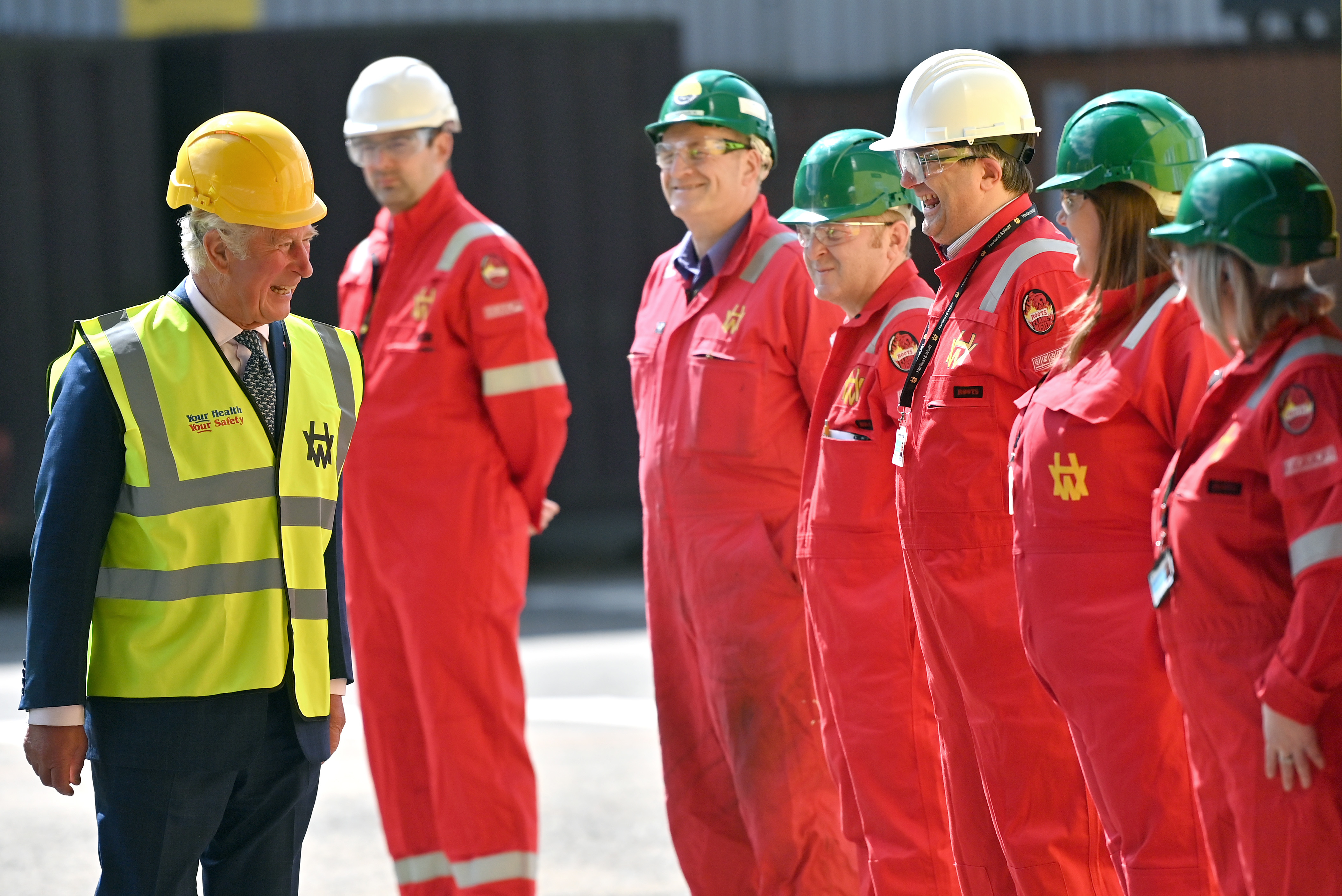 <p>The Prince of Wales during a visit to Harland &amp; Wolff at Queen's Island, Belfast. Picture date: Tuesday May 18, 2021.</p>