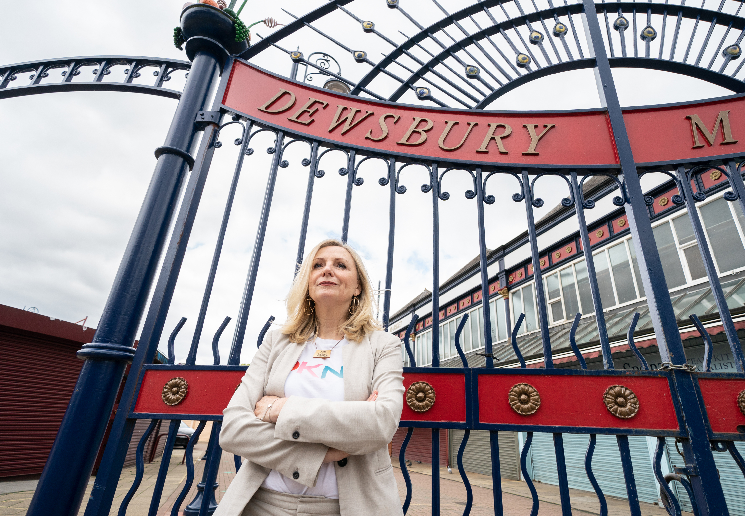 <p>Mayor of West Yorkshire Tracy Brabin outside Dewsbury market in Kirklees after talking to the media about the changing COVID-19 guidance in the Kirklees area. Picture date: Tuesday May 25, 2021.</p>