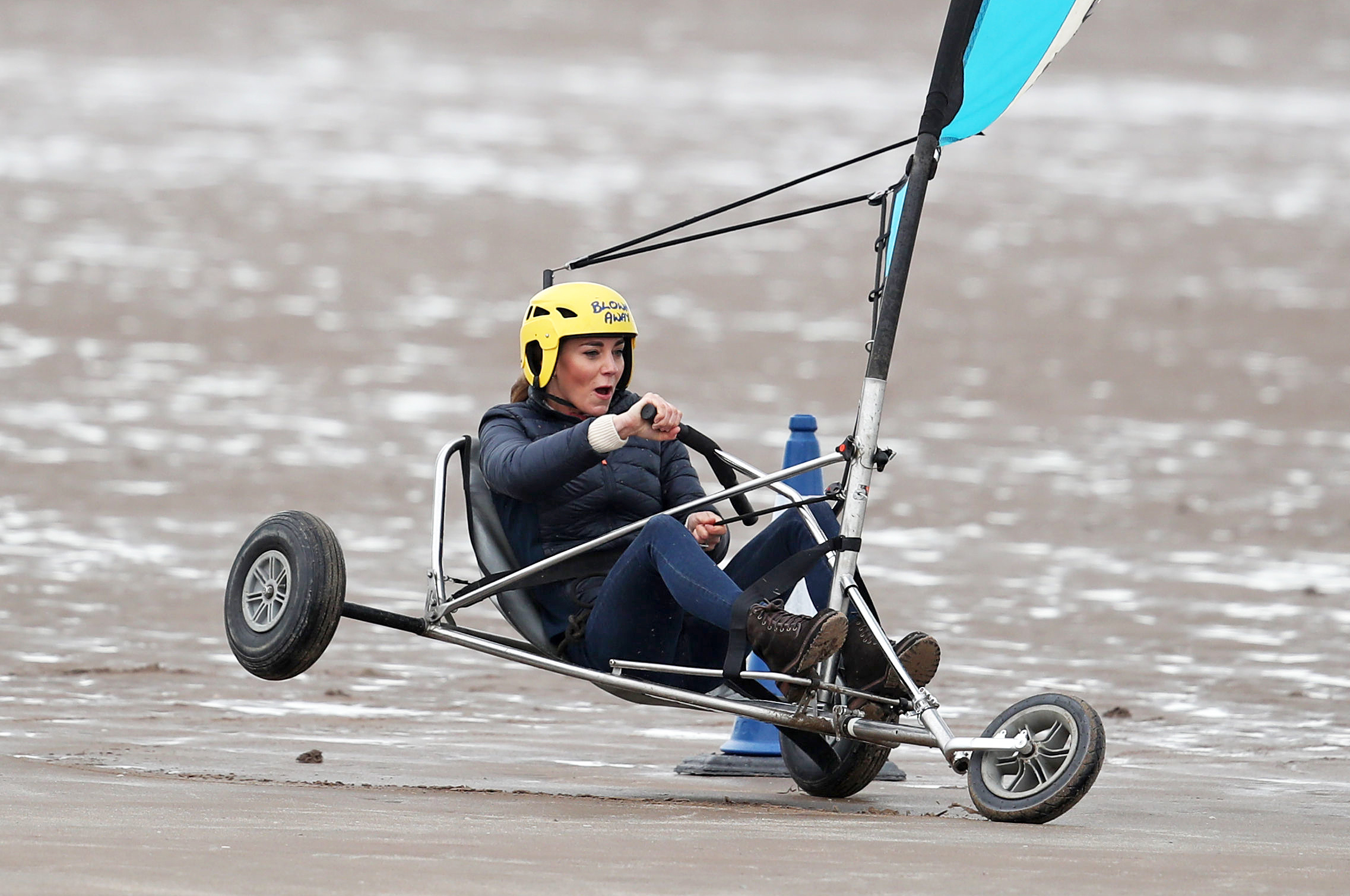 <p>The Duchess of Cambridge land yachting on the beach at St Andrews. Picture date: Wednesday May 26, 2021.</p>