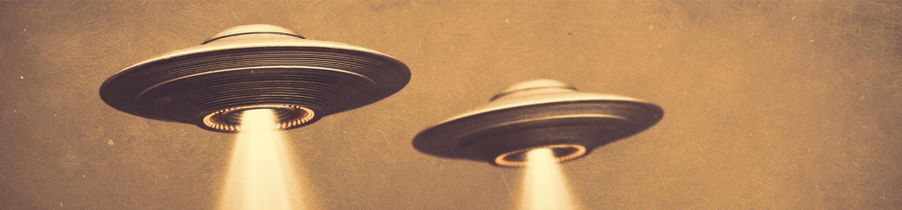 Ilustración de dos objetos voladores no identificados, ovnis