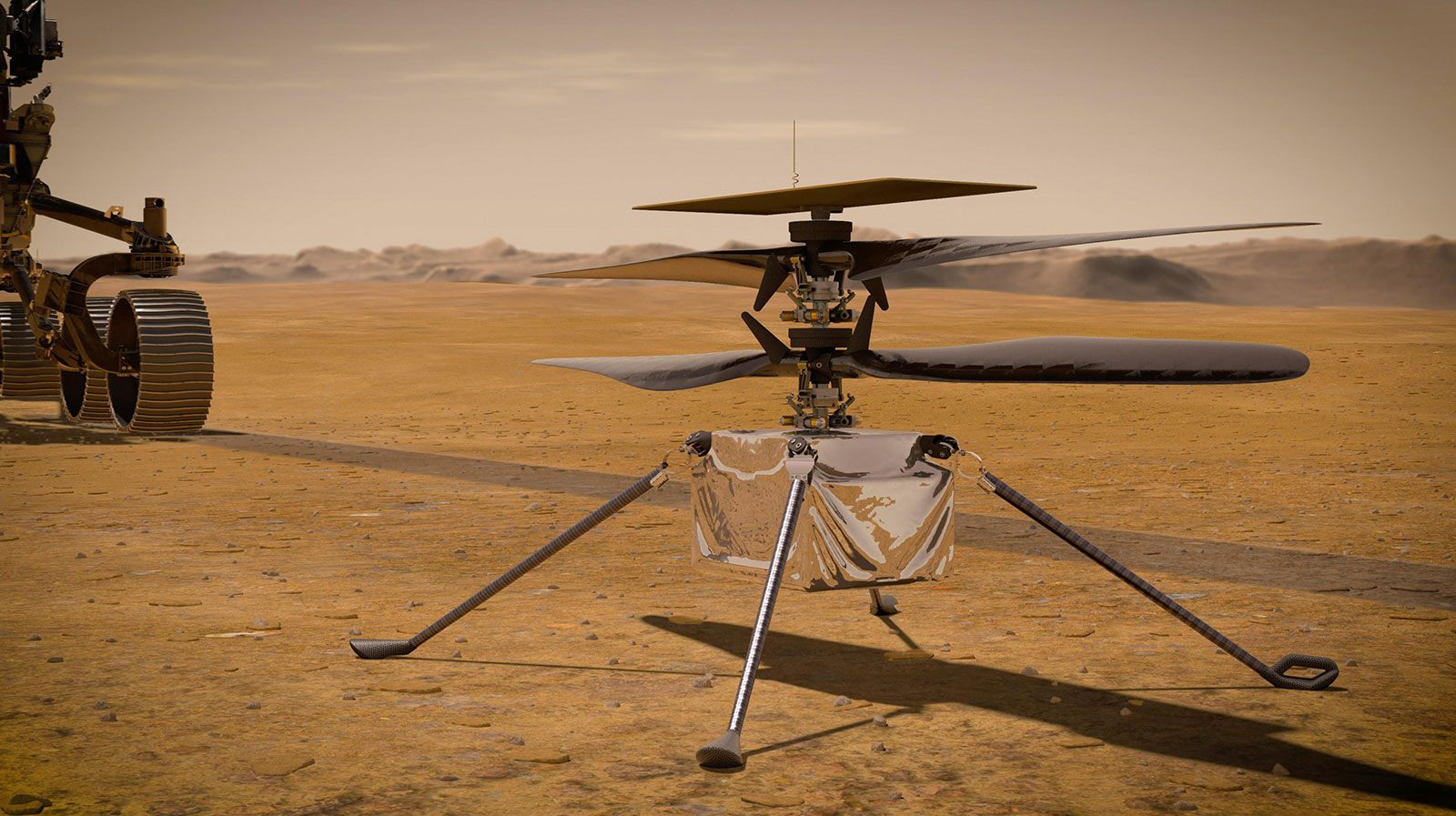 UNSPECIFIED: In this concept illustration provided by NASA, NASA's Ingenuity Mars Helicopter stands on the Red Planet's surface as NASA's Mars 2020 Perseverance rover (partially visible on the left) rolls away. NASA's Perseverance (Mars 2020) rover will store rock and soil samples in sealed tubes on the planet's surface for future missions to retrieve in the area known as Jezero crater on the planet Mars. A key objective for Perseverance's mission on Mars is astrobiology, including the search for signs of ancient microbial life. The rover will characterize the planet's geology and past climate, paving the way for human exploration of the Red Planet, and be the first mission to collect and cache Martian rock and regolith. (Photo illustration by NASA via Getty Images)