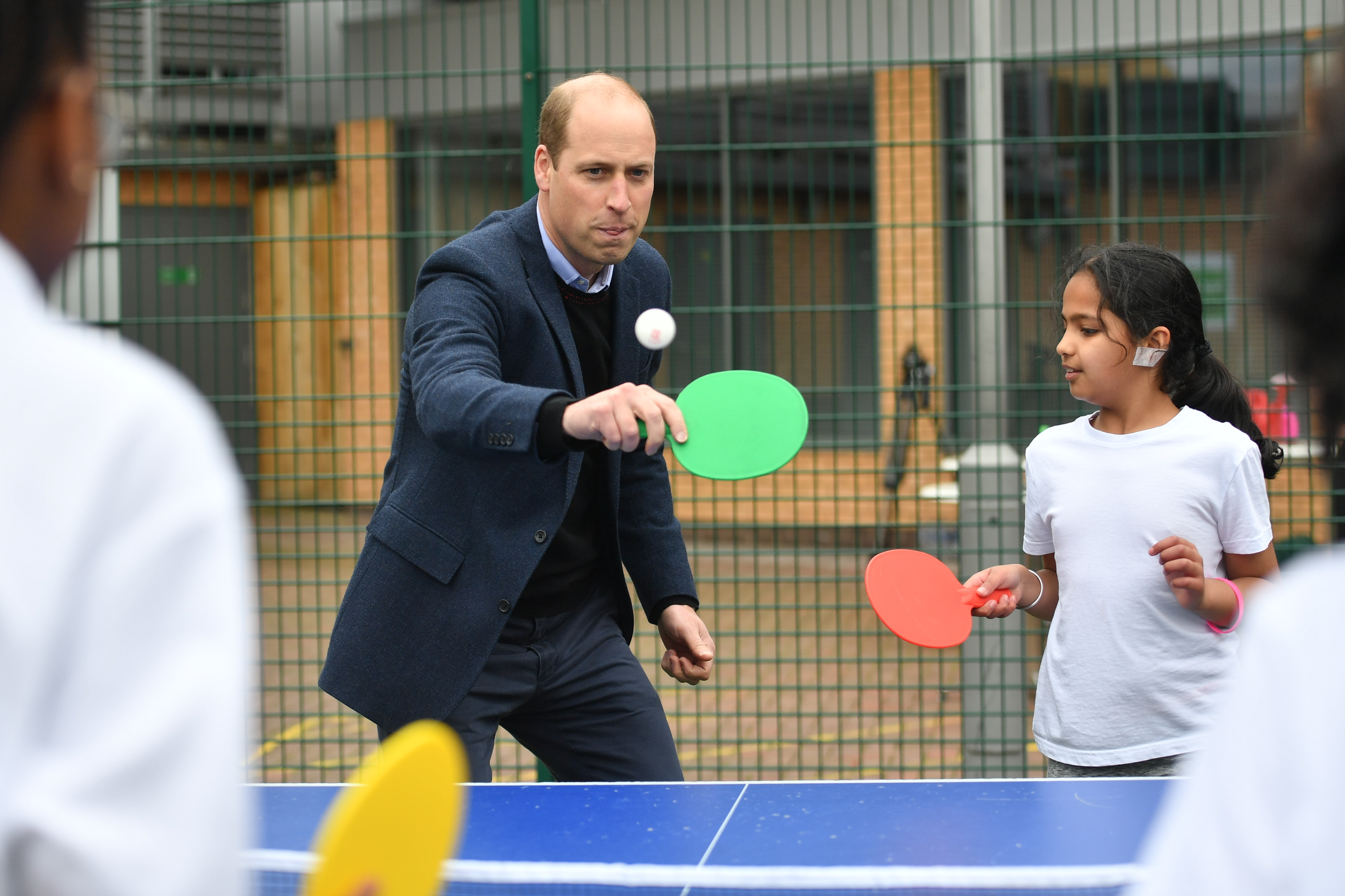 <p>The Duke of Cambridge playing table tennis during a visit to The Way Youth Zone in Wolverhampton, West Midlands. Picture date: Thursday May 13, 2021.</p>