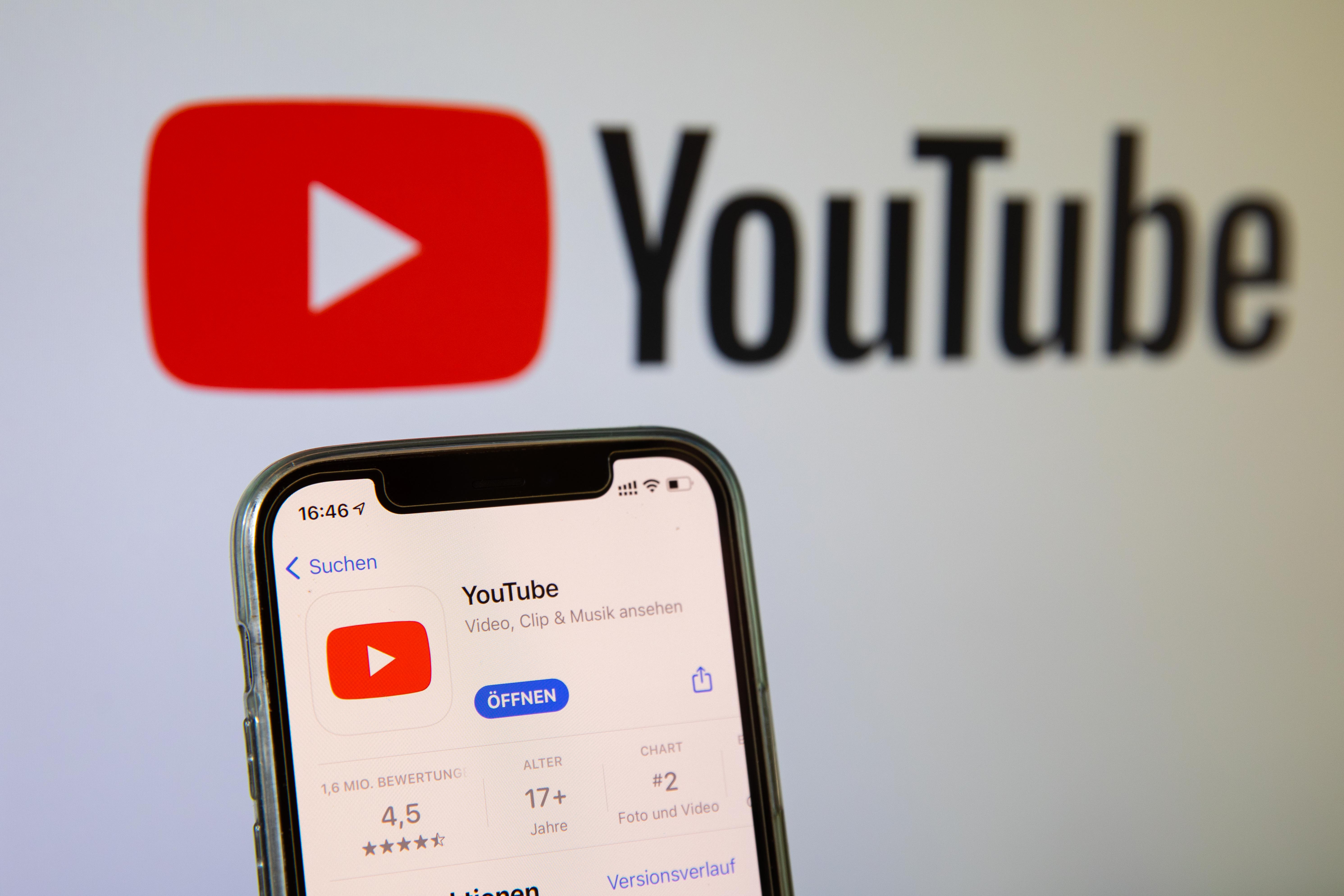 BARGTEHEIDE, GERMANY - MAY 03: (BILD ZEITUNG OUT)  In this photo illustration, a Youtube App in the IOS App Store on May 03, 2021 in Bargteheide, Germany. (Photo by Katja Knupper/Die Fotowerft/DeFodi Images via Getty Images)