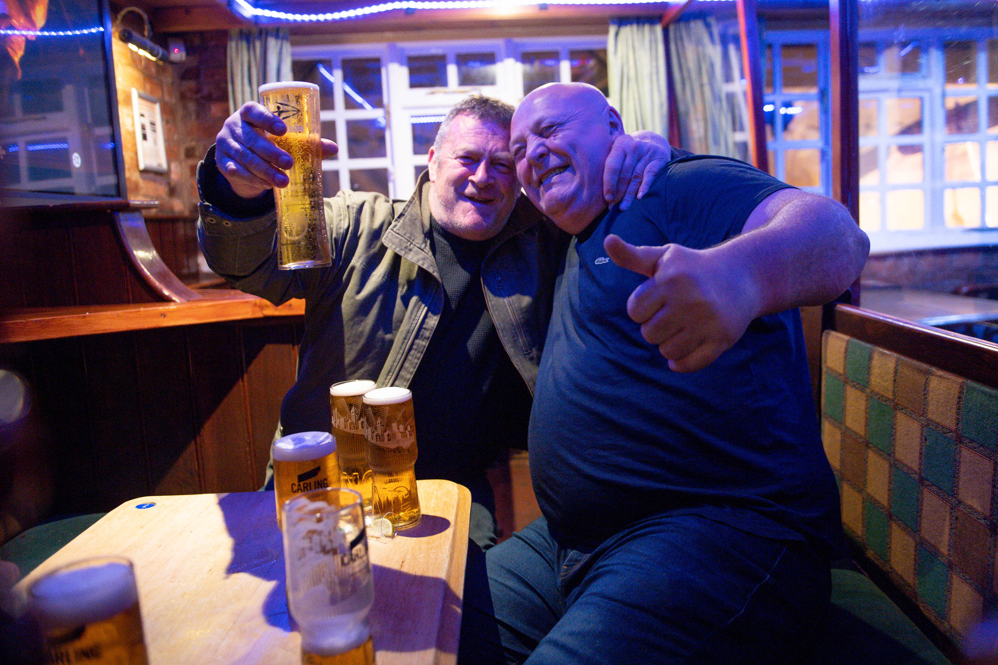 <p>Customers at the The Oak Inn in Coventry, West Midlands, as indoor hospitality and entertainment venues reopen to the public following the further easing of lockdown restrictions in England. Picture date: Monday May 17, 2021.</p>