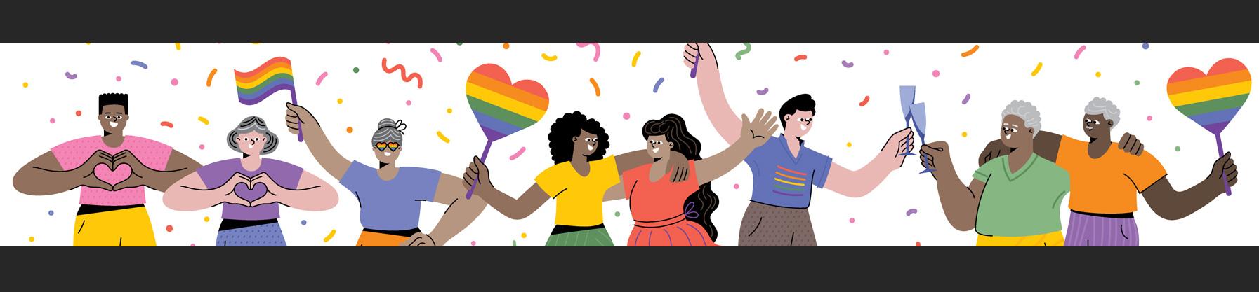 Un grupo de personas de la comunidad LGTBQ+ celebran el Día del Orgullo Gay