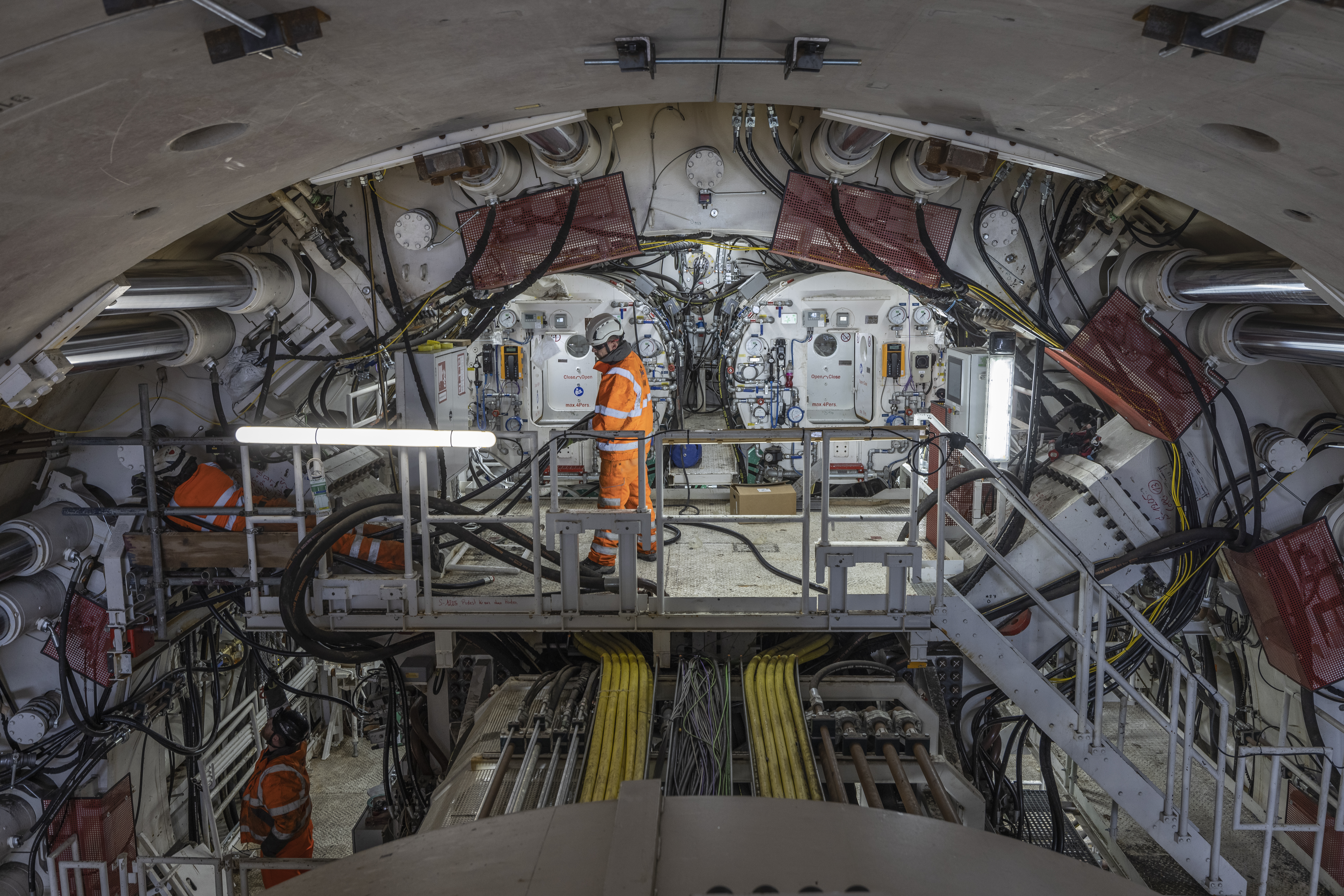 <p>RICKMANSWORTH, ENGLAND - MAY 13: HS2 unveil their new tunnel boring machine, (TBM) on May 13, 2021 in Rickmansworth, England. The 2000 tonne machine named Florence after Florence Nightingale started its 10 mile-long tunnel dig under the Chilterns today, and will be operating 24/7 for the next three years. (Photo by Dan Kitwood/Getty Images)</p>