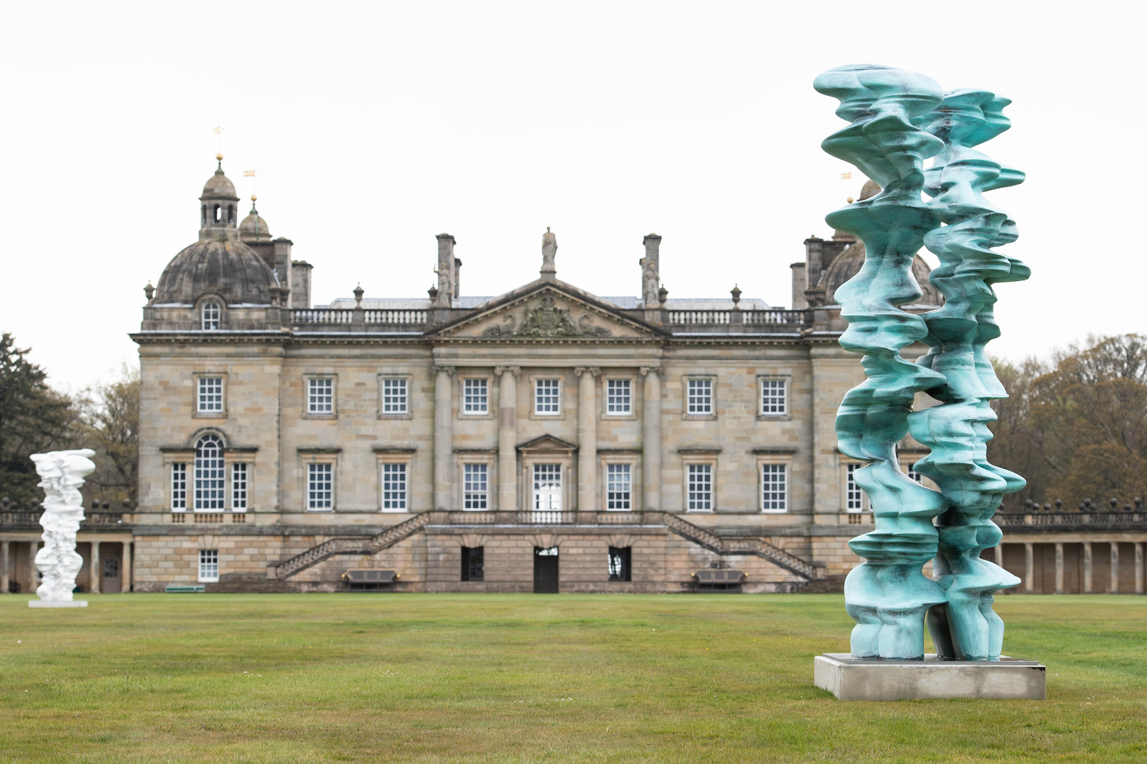 <p>EDITORIAL USE ONLY Sculptures titled 'Mean Average' and 'Runner' by Sir Tony Cragg are unveiled at Houghton Hall in Norfolk as part of a major exhibition of his work, opening to the public on May 19. Issue date: Monday May 10, 2021.</p>