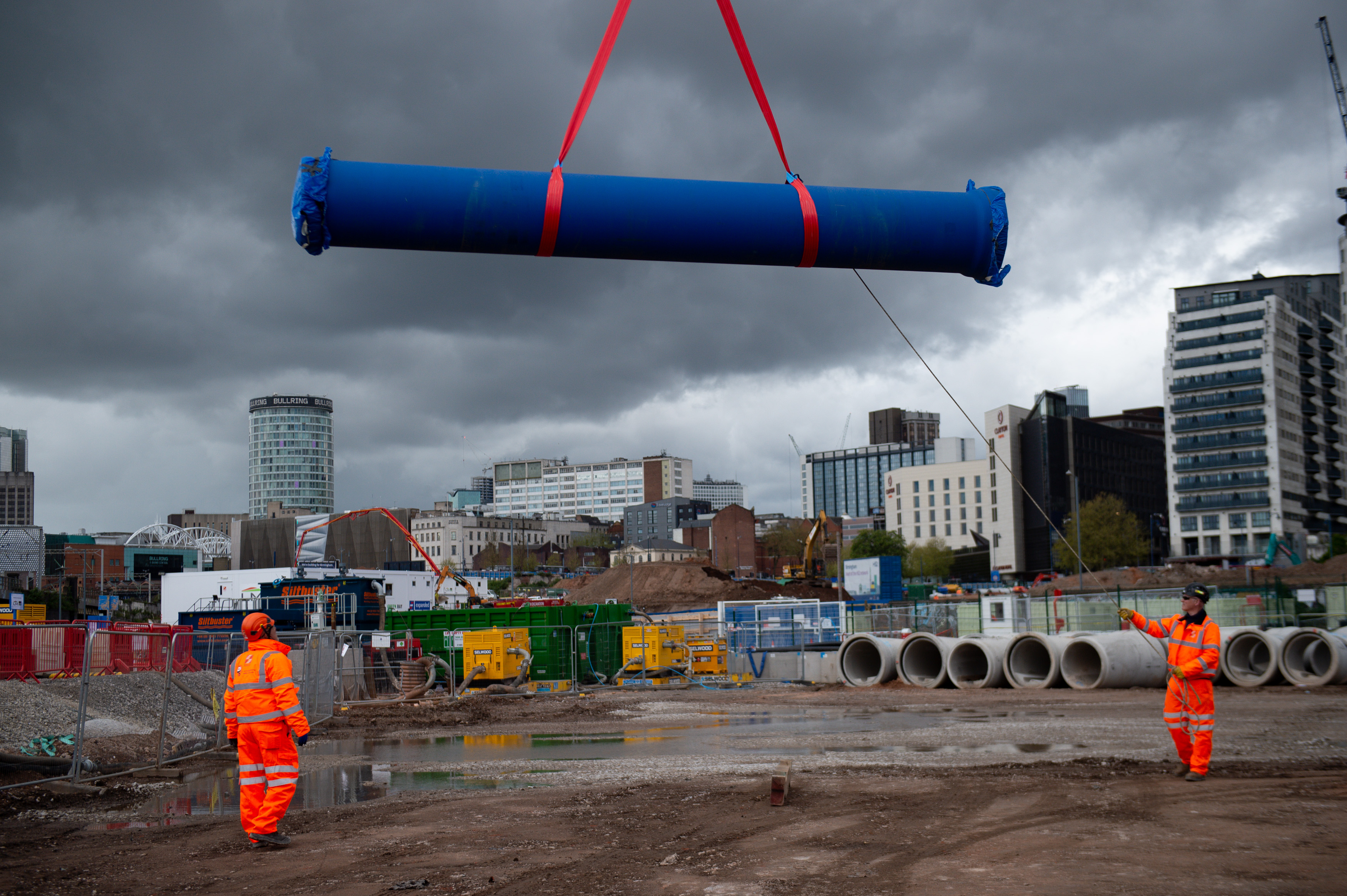 <p>A water main is lifted and moved at HS2�s Curzon Street site in Birmingham. Picture date: Monday May 10, 2021.</p>