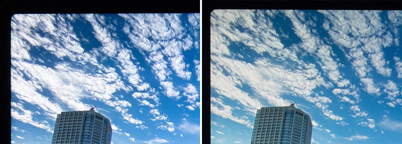 ▲ Expand the blue sky and clouds.The 2021 model is superior in both the beauty of the white clouds and the sense of depth.