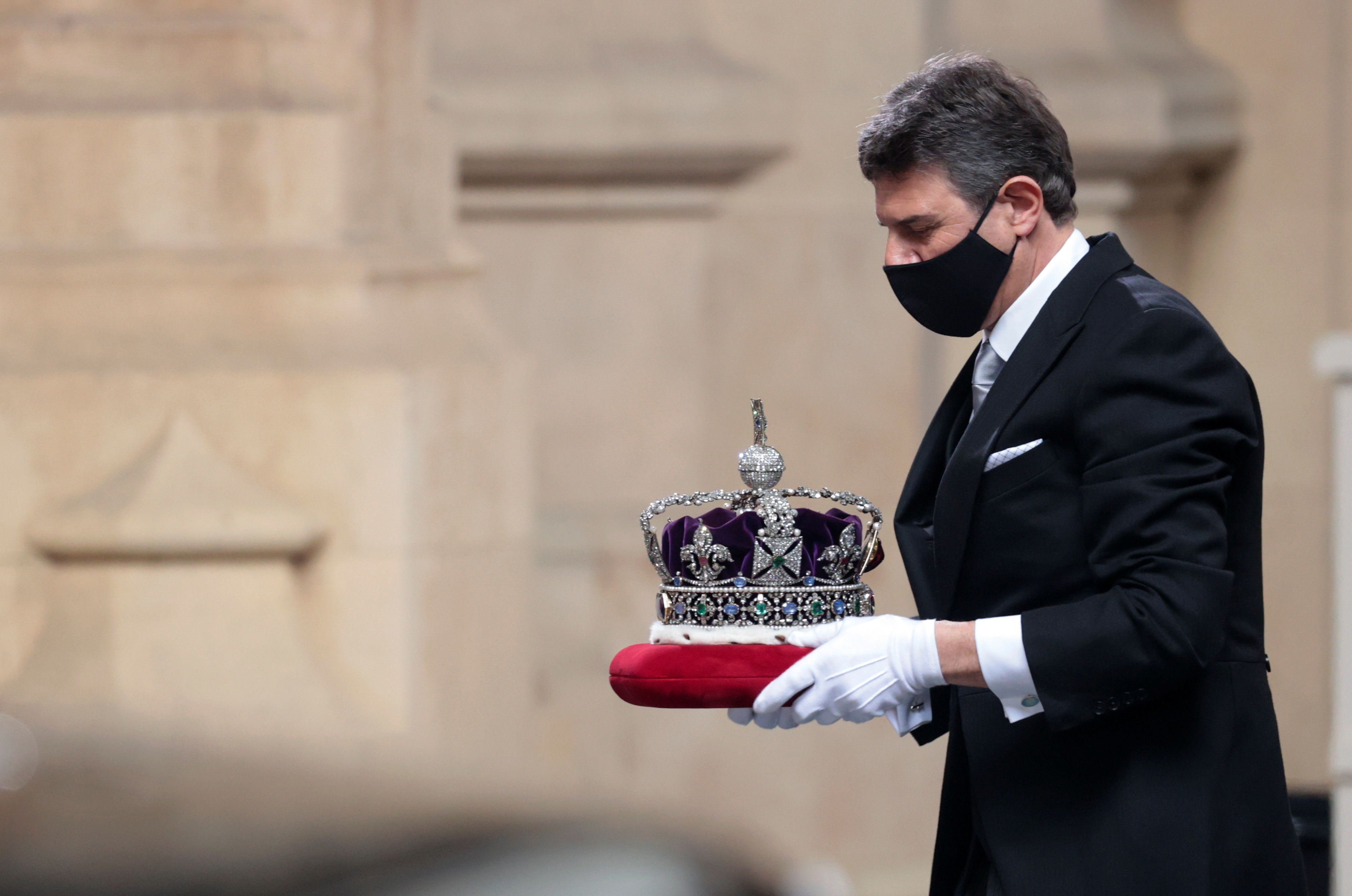 <p>The Imperial State Crown is taken to the Palace of Westminster in London for the State Opening. Picture date: Tuesday May 11, 2021.</p>