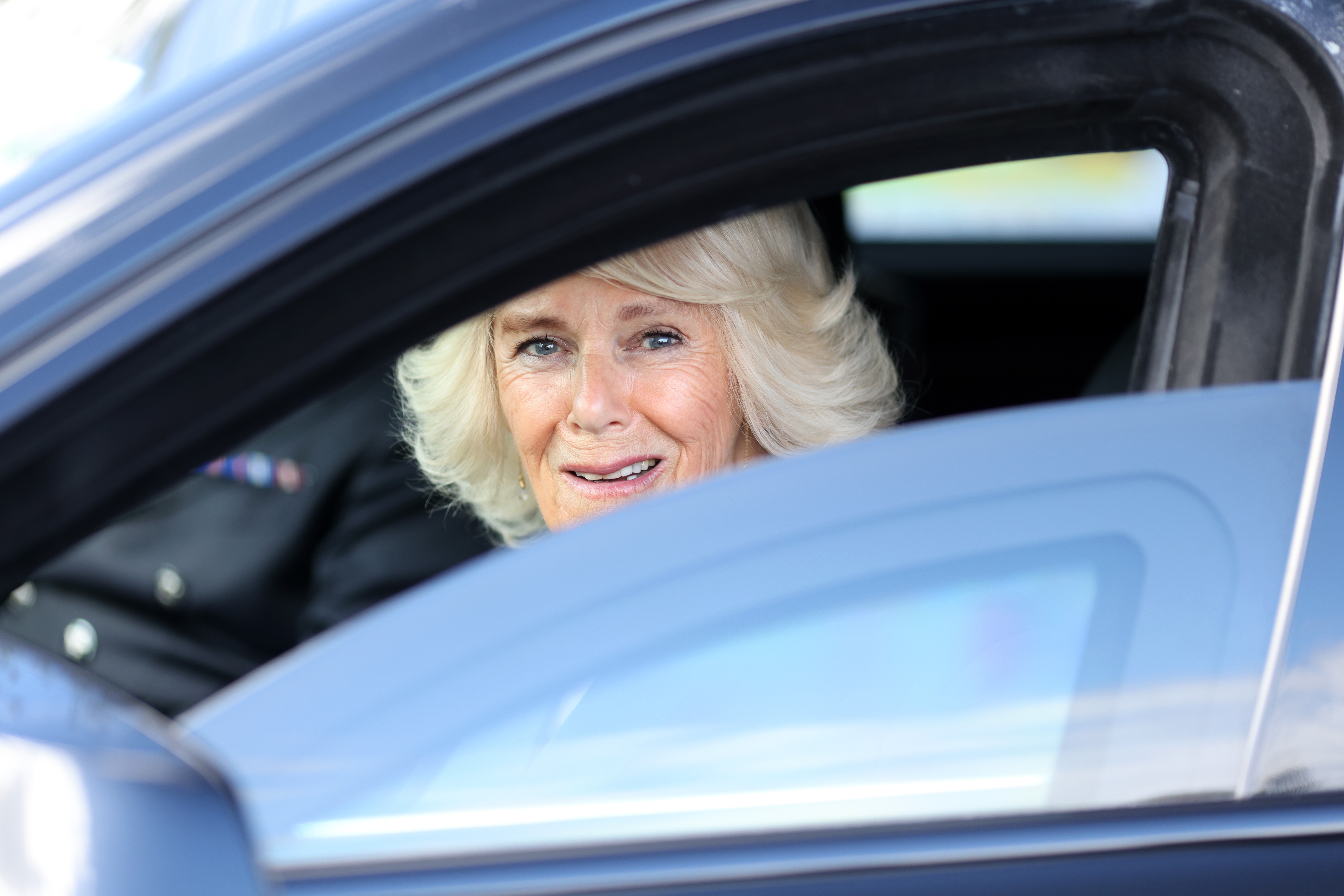 <p>The Duchess of Cornwall departs after visiting Bangor Market where she walked around and meeting stall holders at the open-air market. Picture date: Wednesday May 19, 2021.</p>