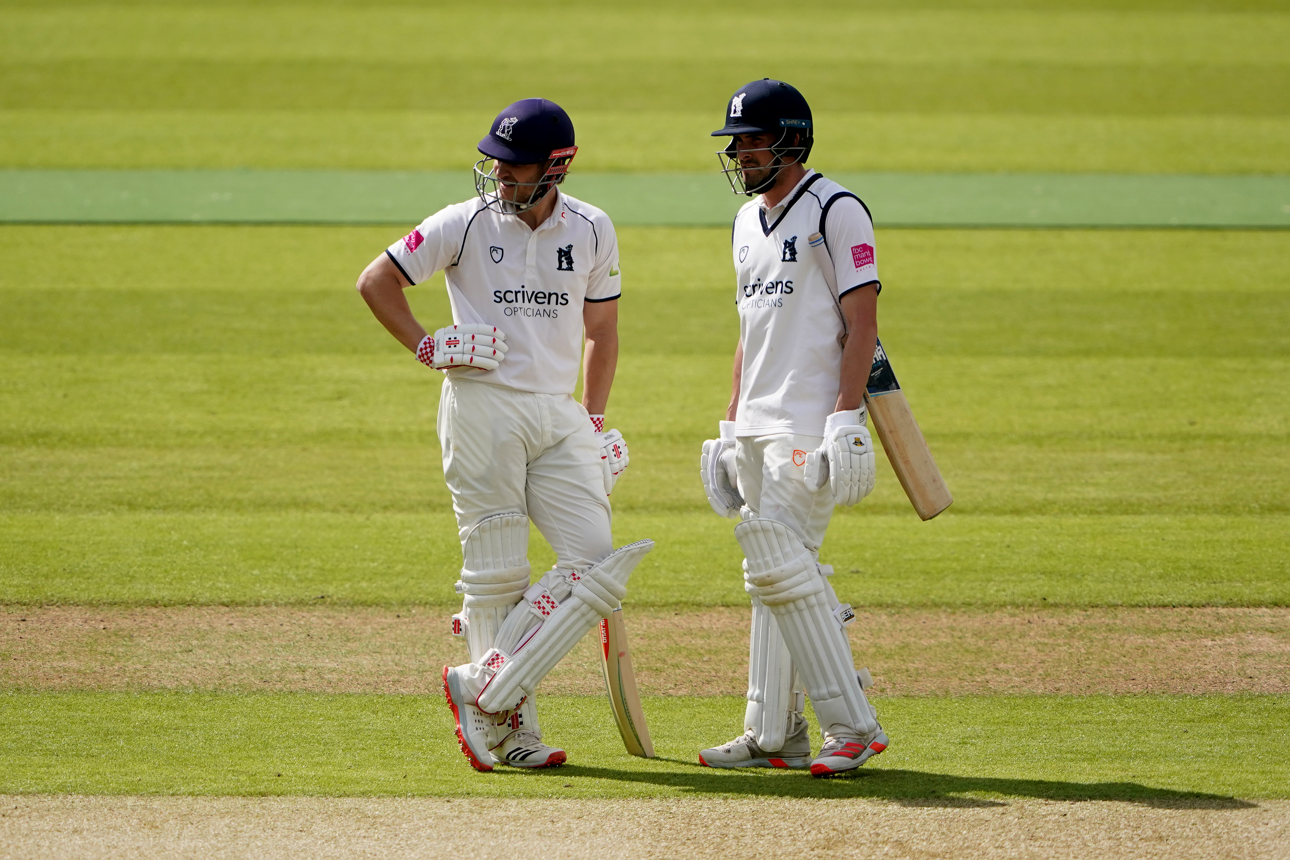 <p>Warwickshire's Sam Hain (left) and Warwickshire's Will Rhodes during day one of the LV= Insurance County Championship match at Edgbaston, Birmingham. Picture date: Thursday May 27, 2021.</p>