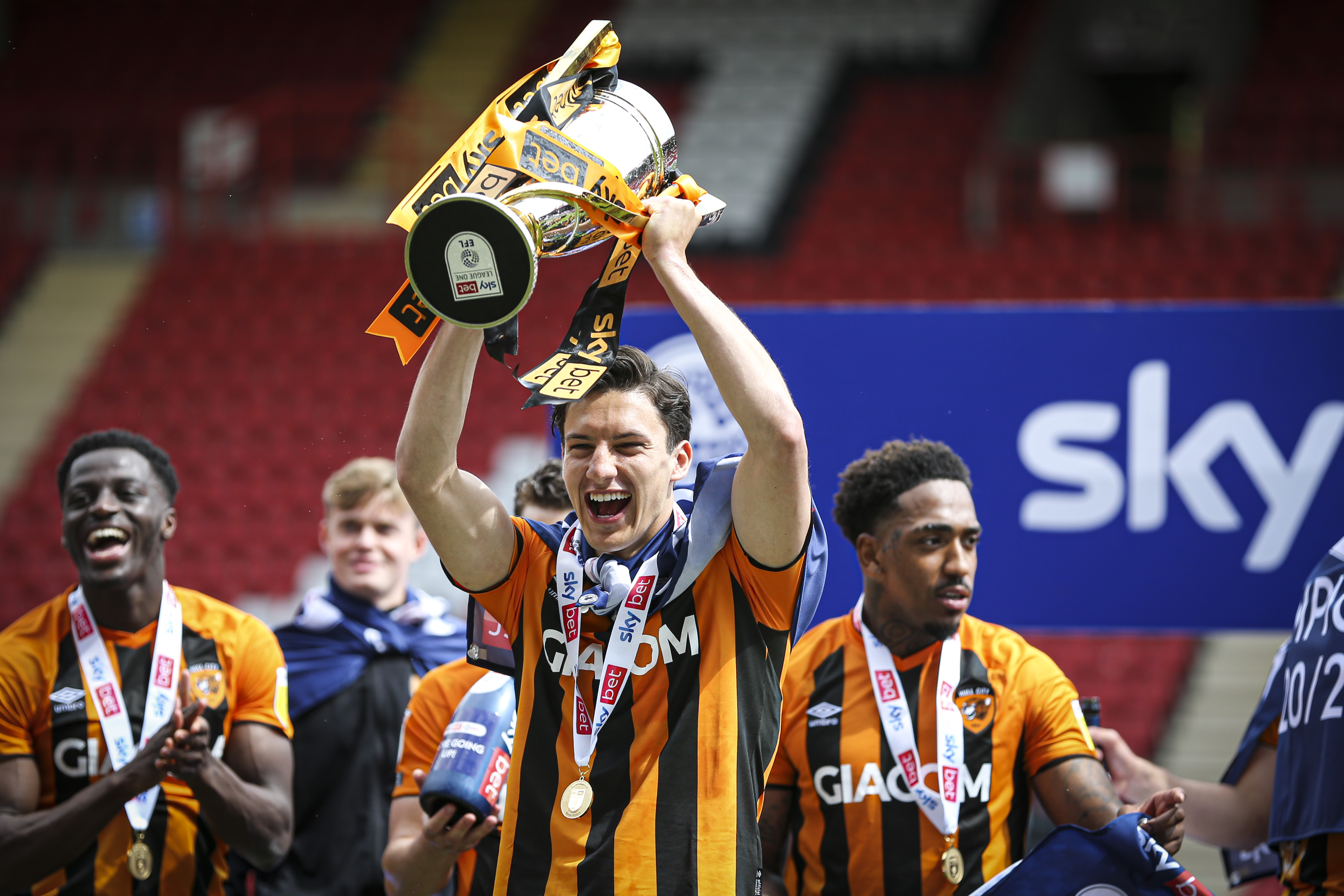 <p>Hull City trophy celebrations  during the Sky Bet League 1 match between Charlton Athletic and Hull City at The Valley, London, UK on 9th May 2021. (Photo by Tom West/MI News/NurPhoto via Getty Images)</p>