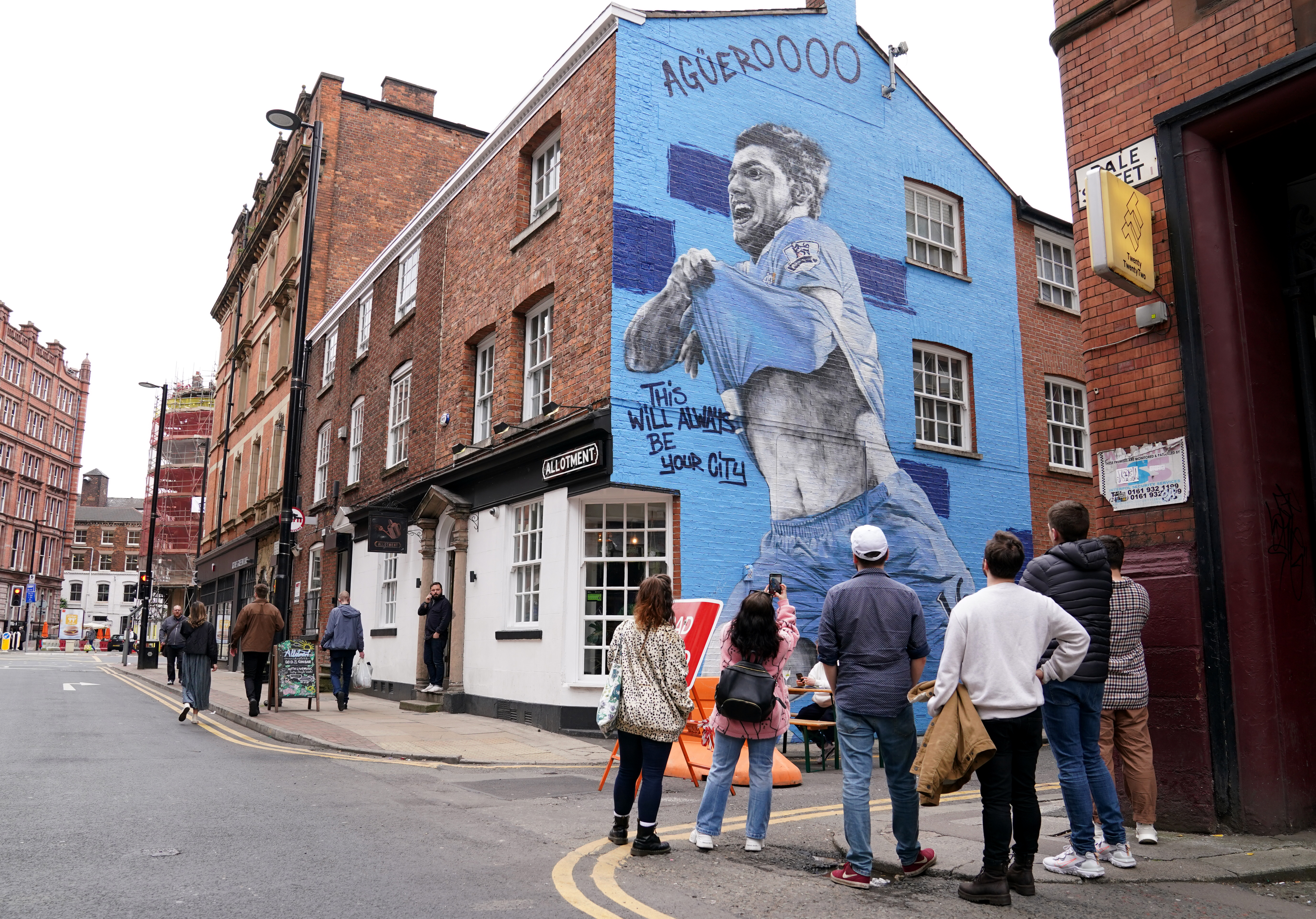 <p>A view of the Sergio Aguero Mural on Dale Street in Manchester. Picture date: Friday May 28, 2021.</p>