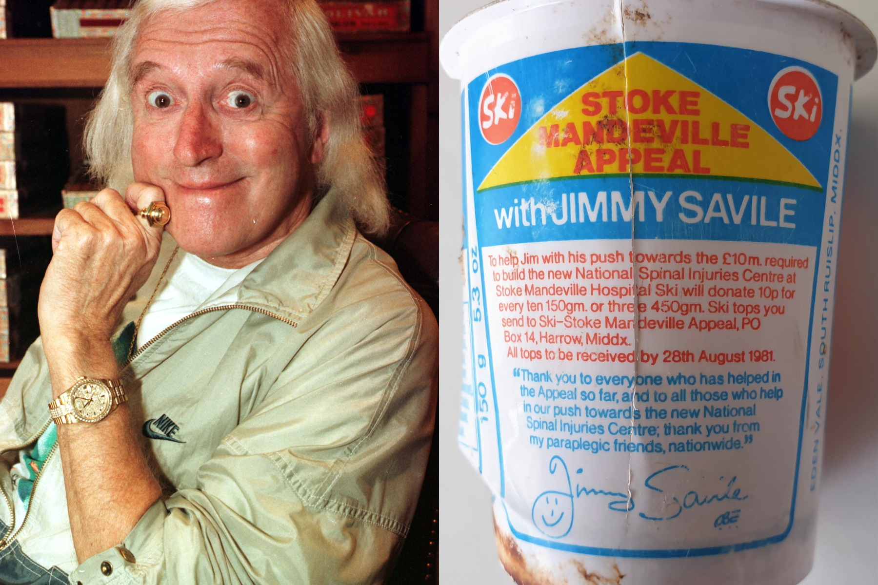 Beach cleaners find 40-year-old plastic yogurt pot with Jimmy Savile fundraising appeal on label