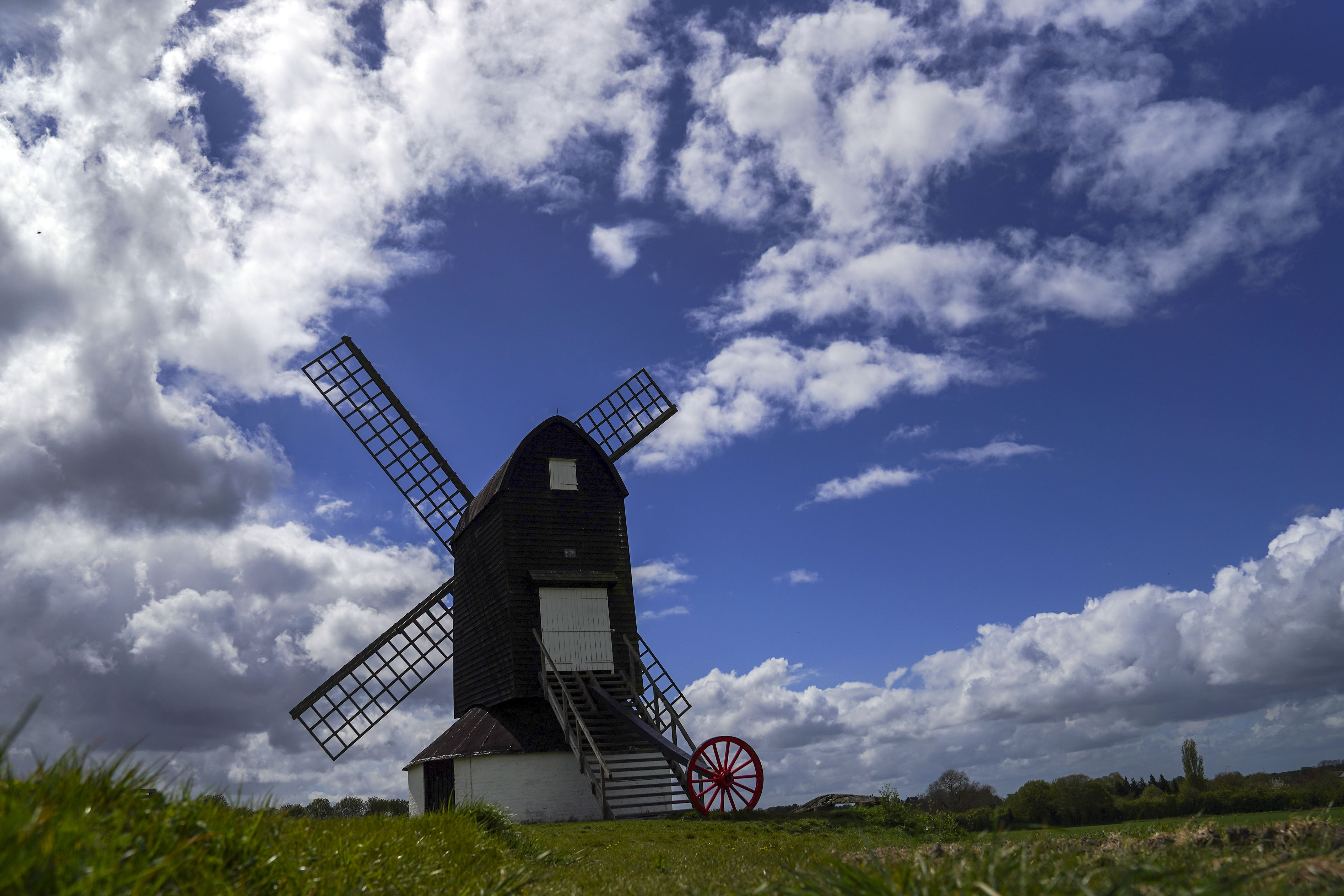 <p>Clouds gather over the 17th century Pistone Windmill near Alyesbury. Picture date: Monday May 10, 2021.</p>