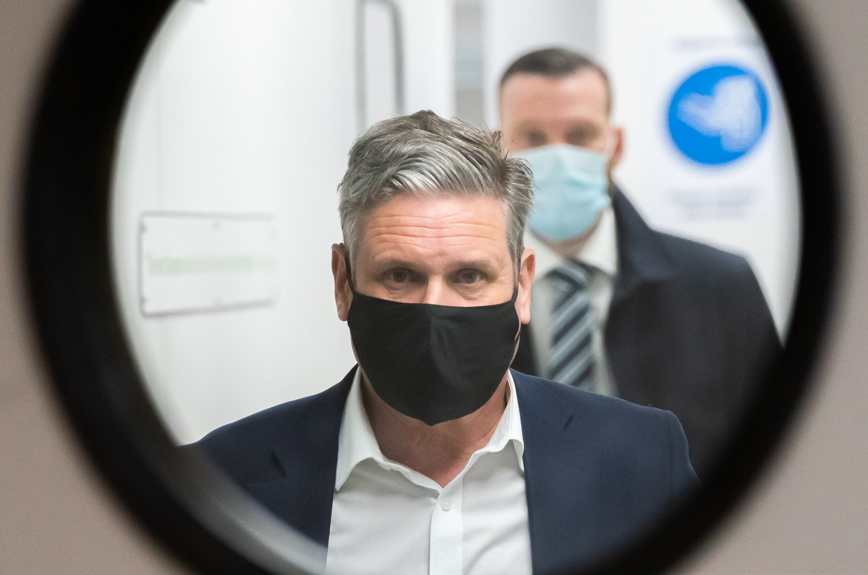 <p>Labour leader Sir Keir Starmer is shown a pair of night vision goggles while on a campaign visit to tech firm Qioptiq in St Asaph, North Wales. Picture date: Tuesday April 4, 2021.</p>
