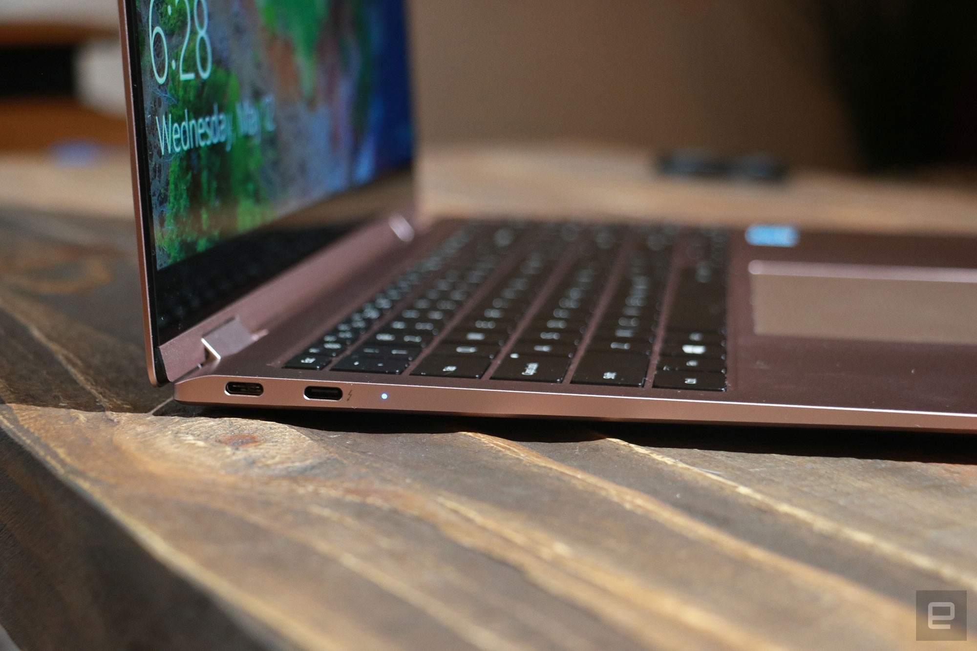 <p>Samsung Galaxy Book Pro 360 review pictures. Close up of the left edge of the Book Pro 360 featuring two USB-C ports and an indicator light.</p>