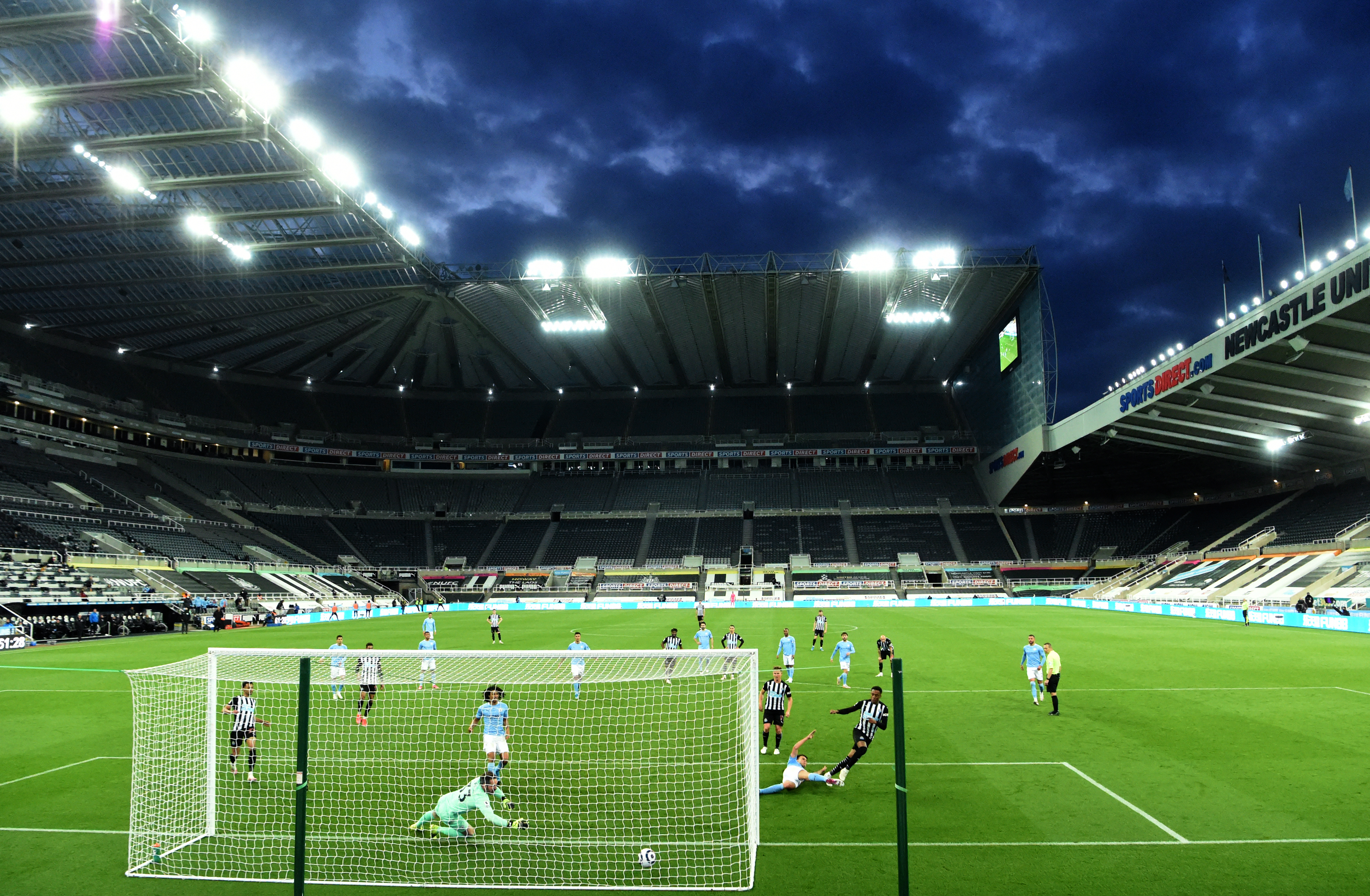 <p>Newcastle United's Joe Willock scores their side's third goal of the game during the Premier League match at St James' Park, Newcastle upon Tyne. Picture date: Friday May 14, 2021.</p>