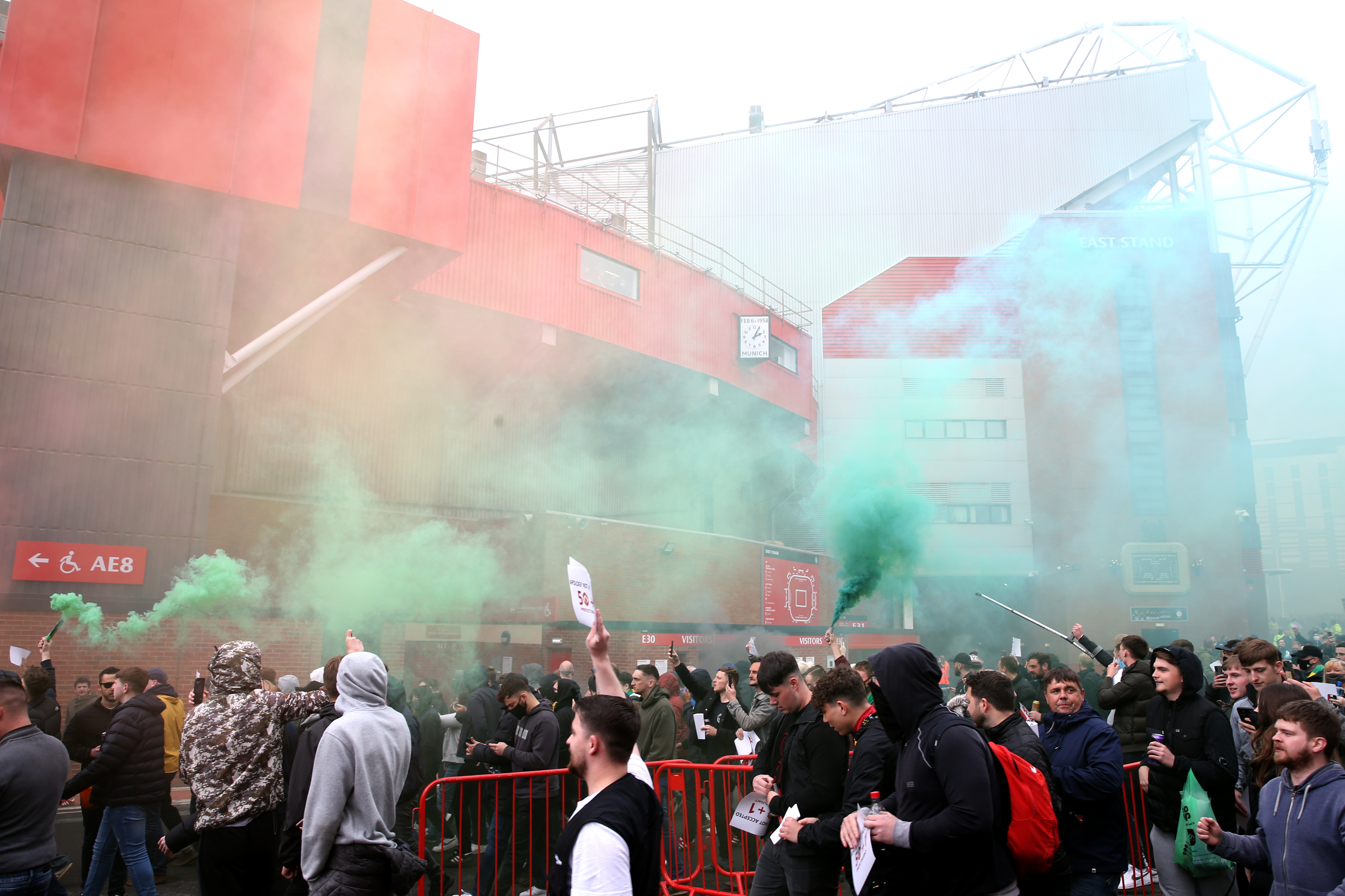 <p>Fans make their way into the ground as they protest against the Glazer family, the owners of Manchester United, before their Premier League match against Liverpool at Old Trafford, Manchester. Issue date: Sunday May 2, 2021.</p>