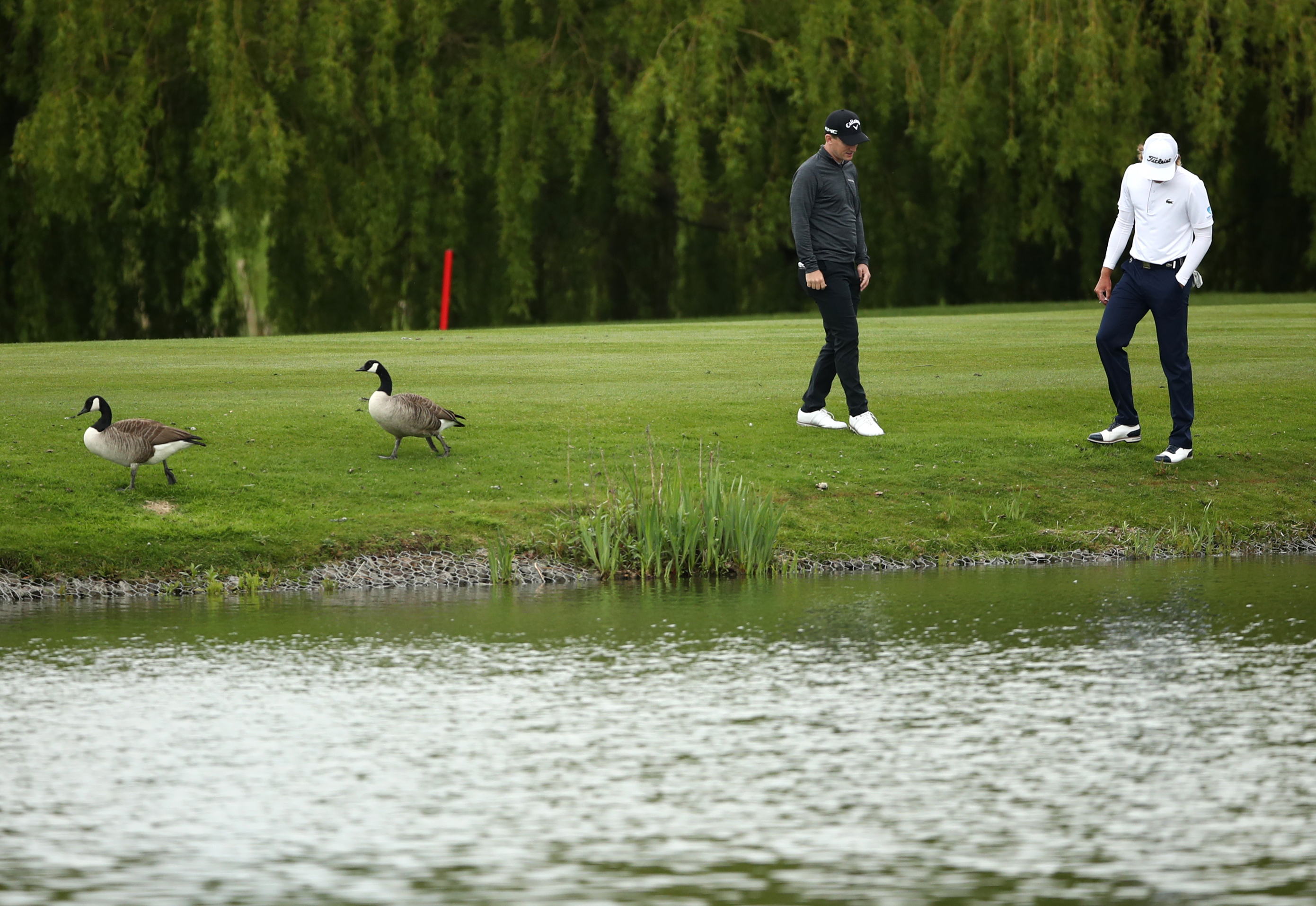 <p>England's Chris Paisley and Australia's Maverick Antcliff search for a ball hit in the lake during day two of the Betfred British Masters at The Belfry, Sutton Coldfield. Picture date: Thursday May 13, 2021.</p>
