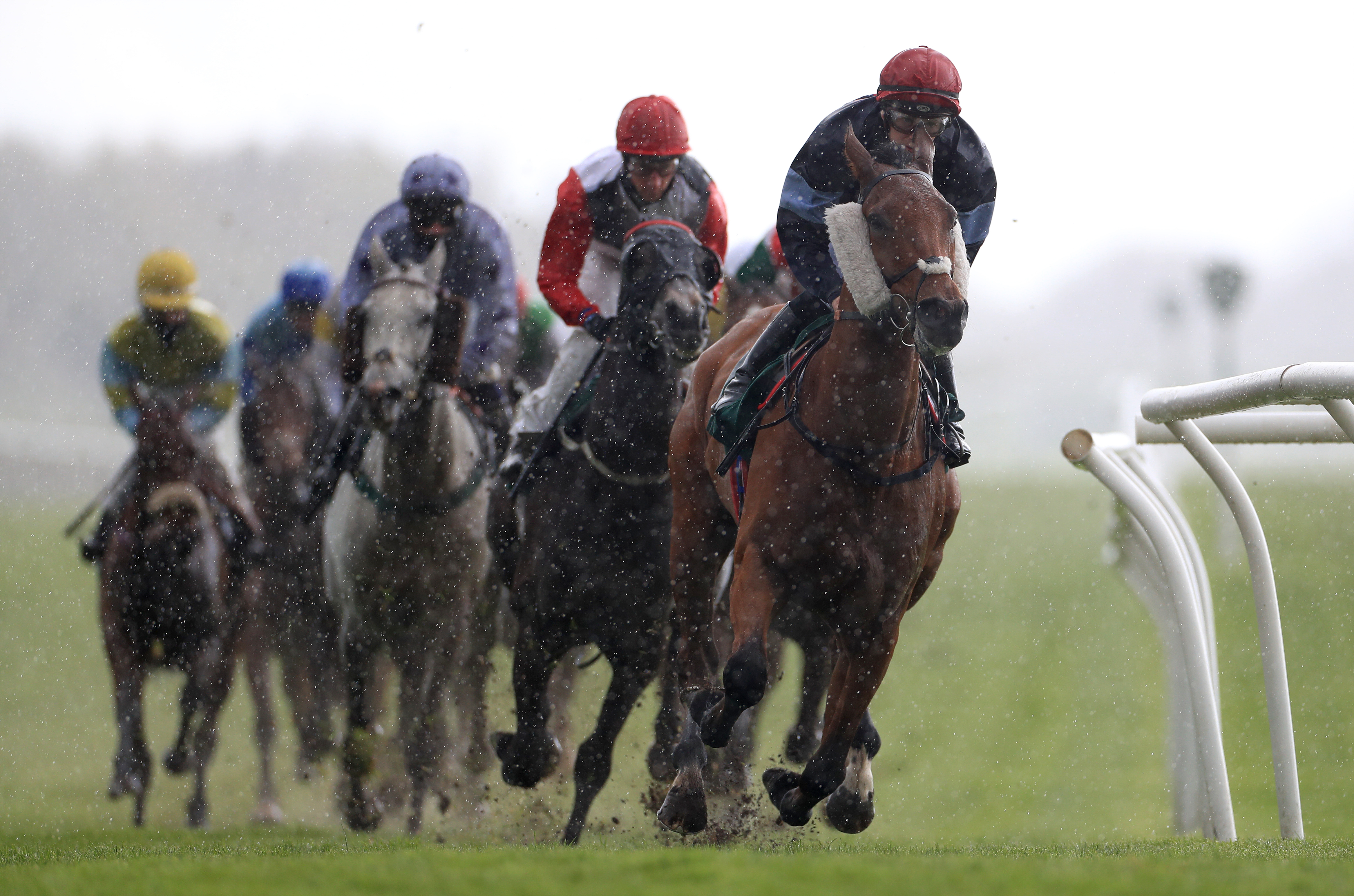 <p>Kings Creek and jockey Jamie Gormley (right) leads the field in the Racing Supporting Mental Health Awareness Week Handicap at Catterick Bridge Racecourse. Picture date: Monday May 10, 2021.</p>