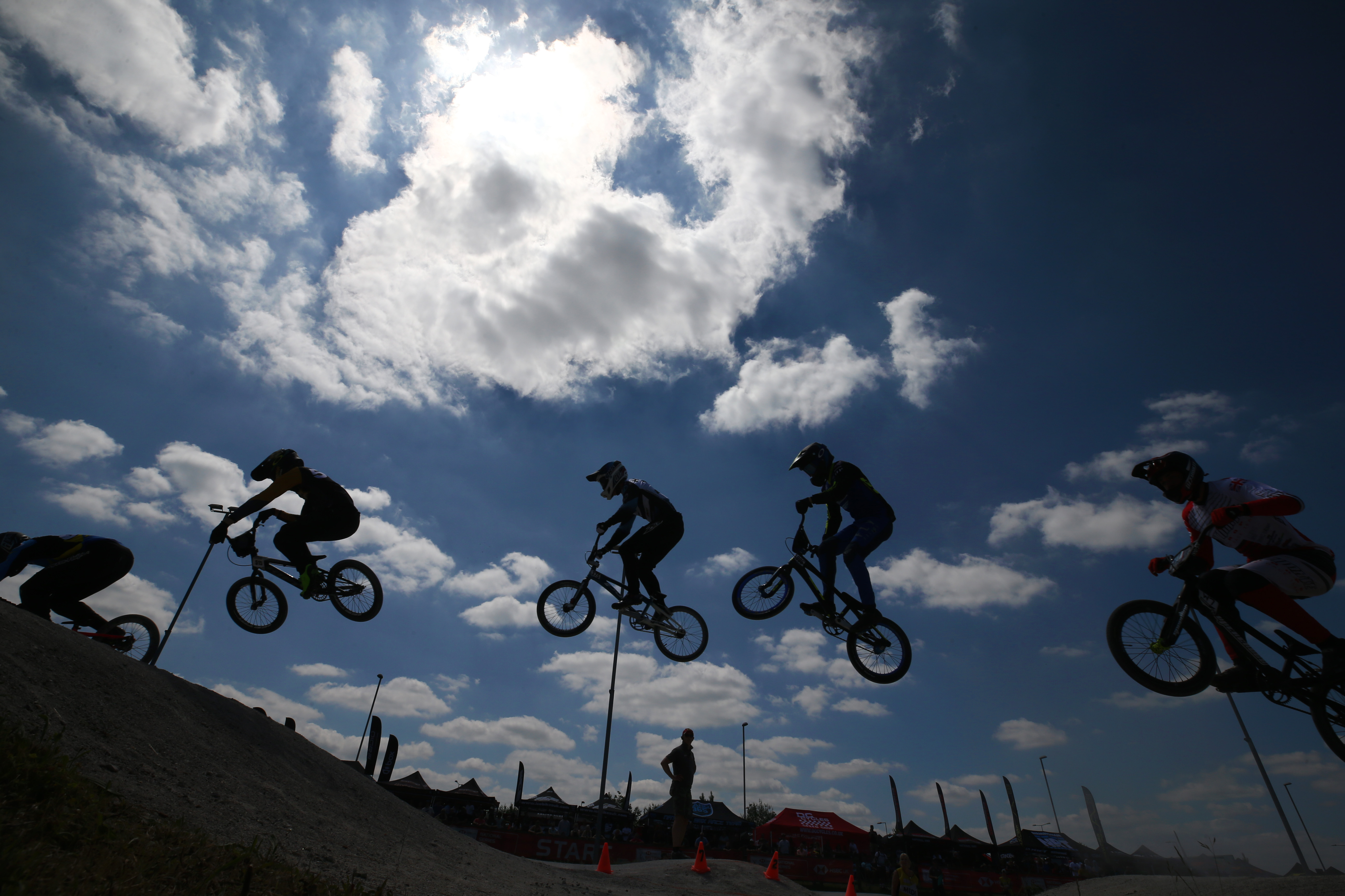 <p>GRAVESEND, ENGLAND - JUNE 13: Riders in qualifying rounds of round two of the HSBC BMX National Series at Cyclopark BMX track on June 13, 2021 in Gravesend, England. (Photo by Cameron Smith/Getty Images)</p>