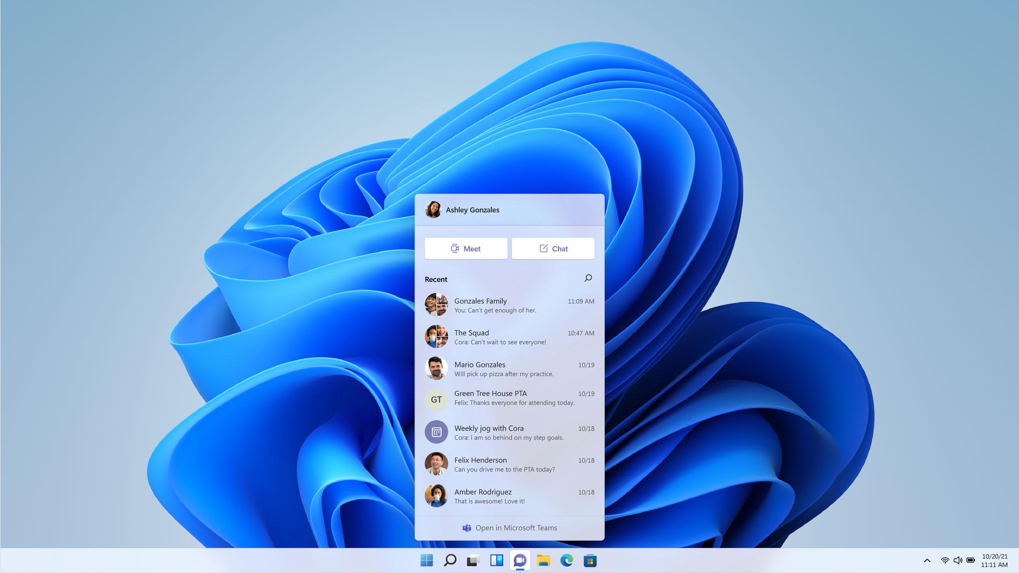 Microsoft Teams is integrated into the Windows 11 taskbar