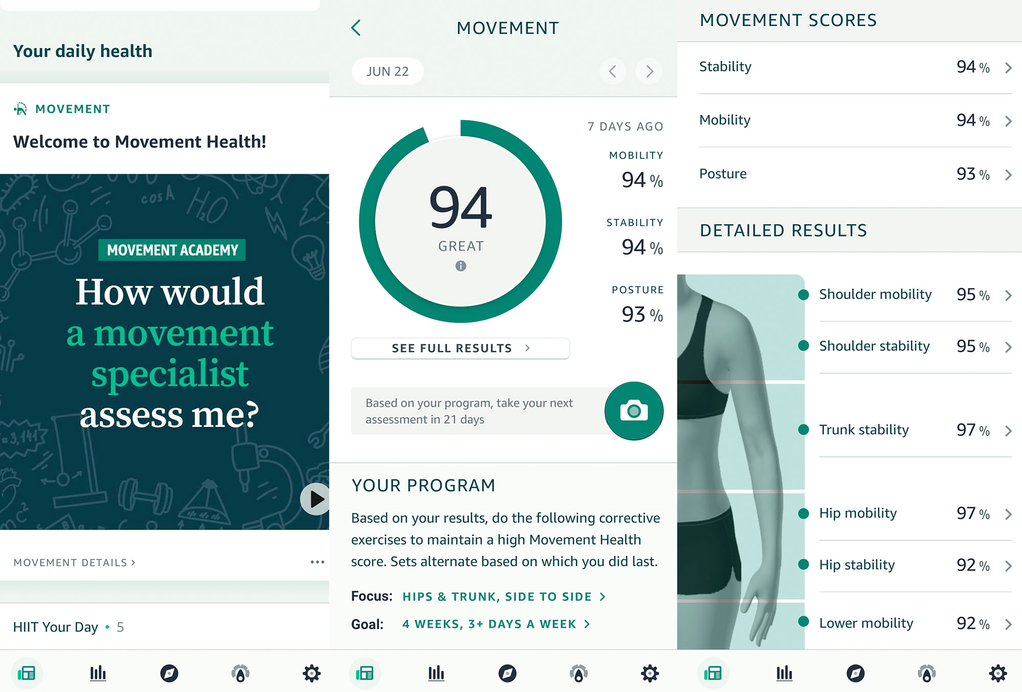 Amazon Halo Movement Health app screenshots