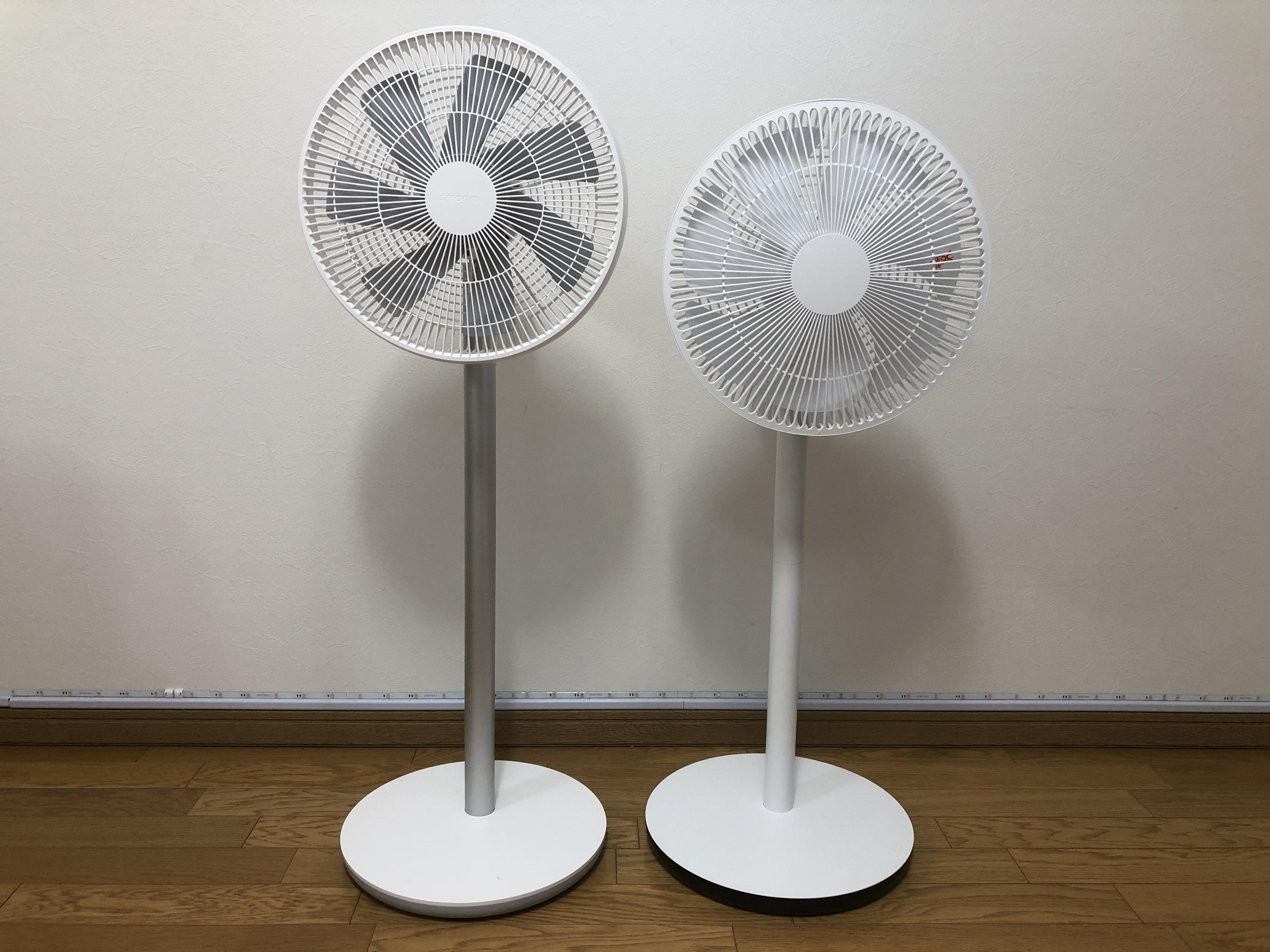 左がSmartmiの「スマート扇風機 2S」で、右が+Styleオリジナルの「スマート扇風機」