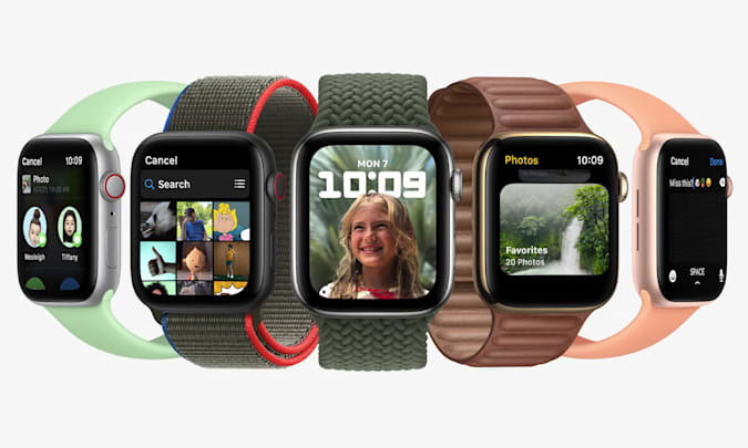 Five Apple Watches showcasing various new watchOS 8 features. From left to right, the features displayed are: Messaging, Photos app, Portrait watch face, Photos app and composing a message.