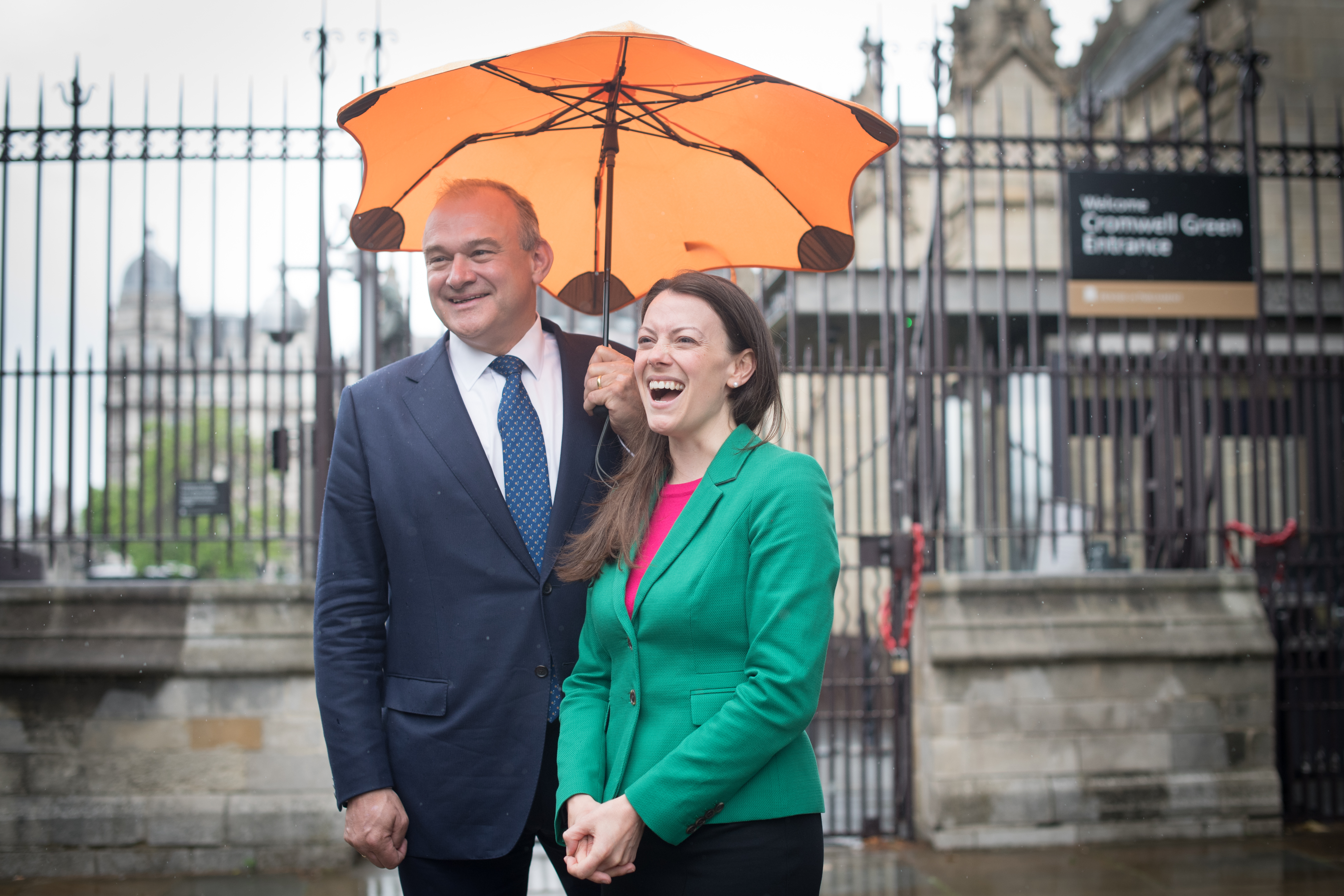<p>Newly elected Liberal Democrat MP for Chesham and Amersham, Sarah Green is welcomed to the House of Commons by party leader, Sir Ed Davey in Westminster, London. Picture date: Monday June 21, 2021.</p>